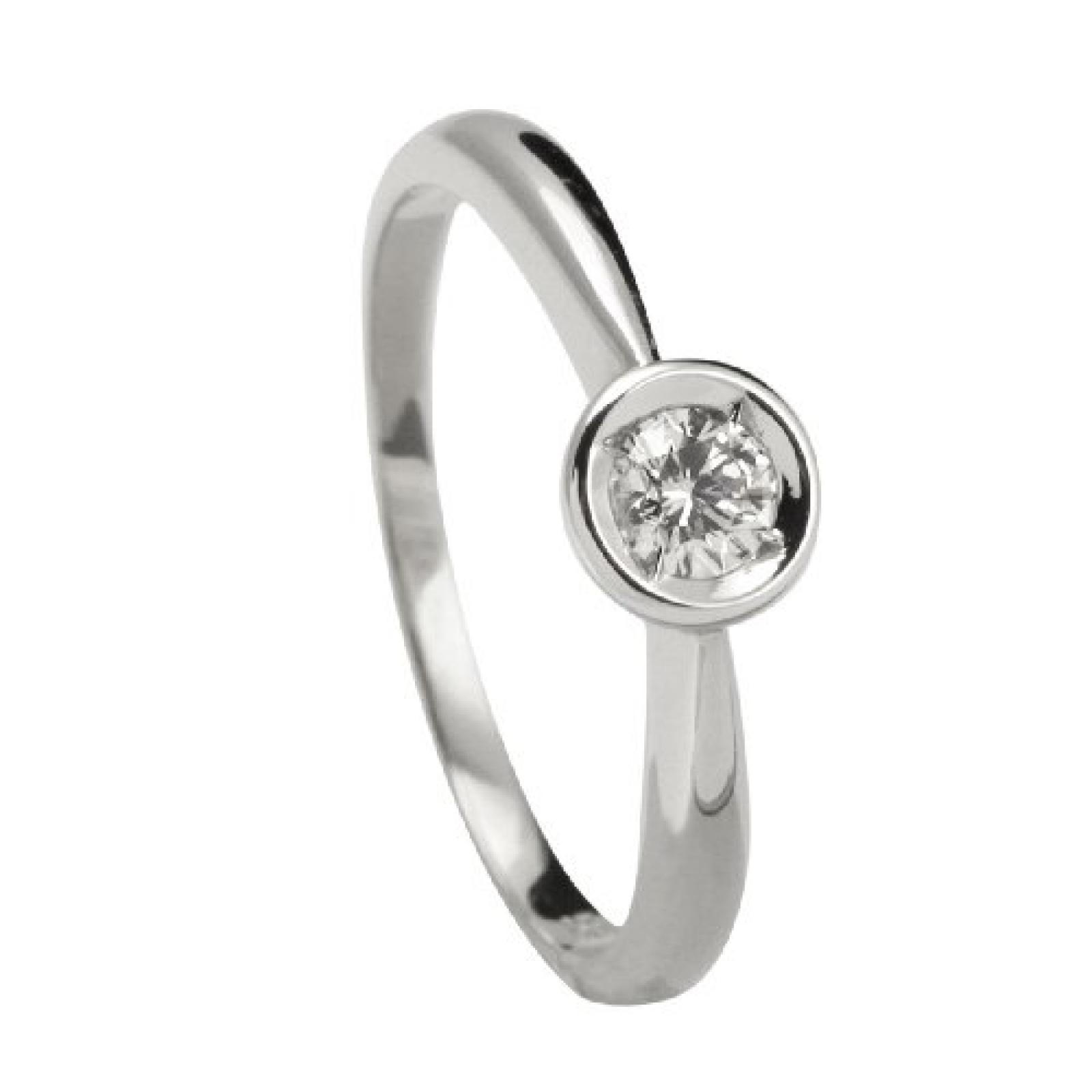 Bella Donna Damen Diamantring 585/000 Weiß-Gold 1 Brillant 0,17ct. Weiß Piqué
