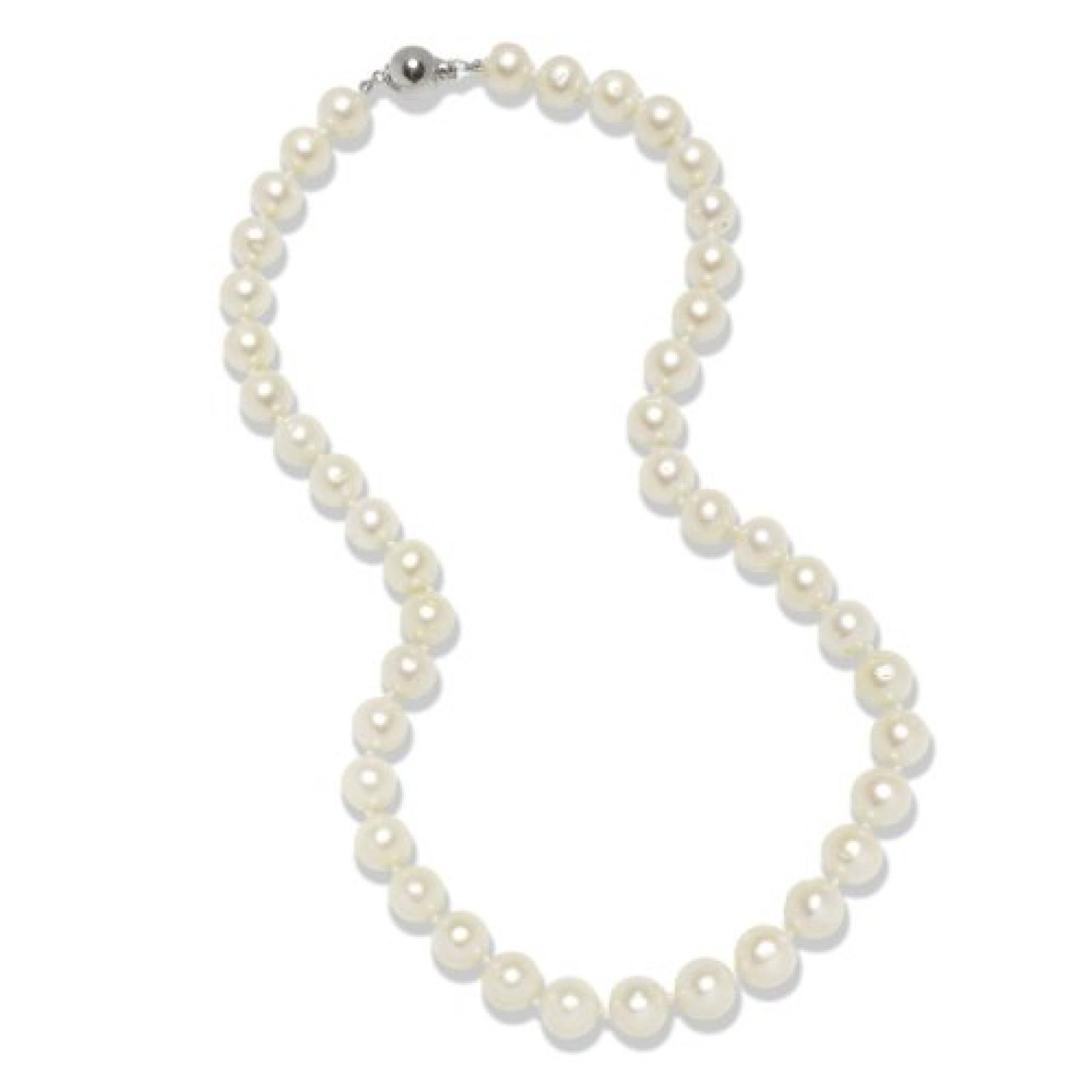 Valero Pearls Classic Collection Damen-Kette Hochwertige Süßwasser-Zuchtperlen in ca.  10 mm Rund weiß 925 Sterling Silber    45 cm + 5 cm Verlängerung   60201643