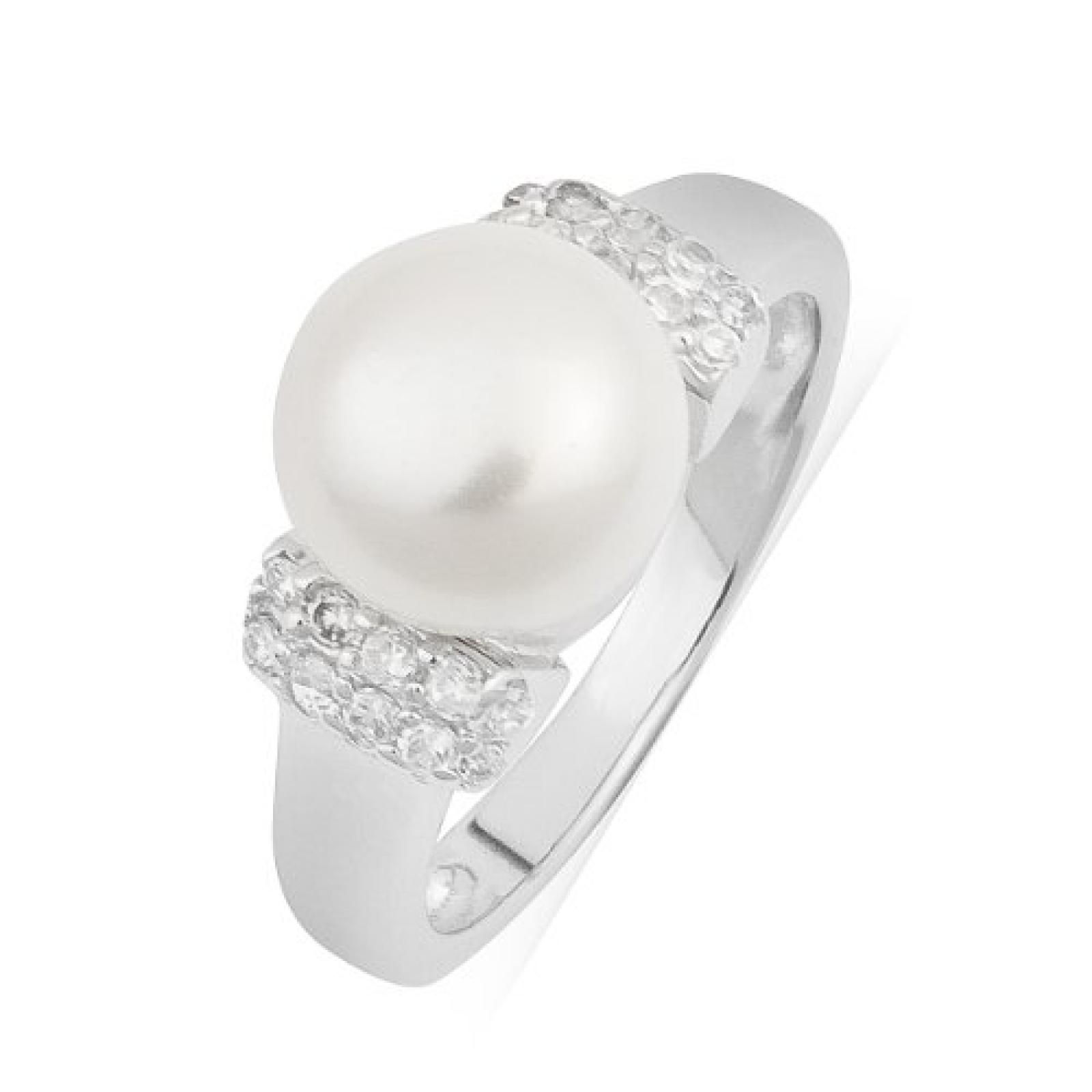 Valero Pearls Damen-Ring Silver Collection 925 Sterling Silber Süßwasser-Zuchtperlen Weiß 60201408