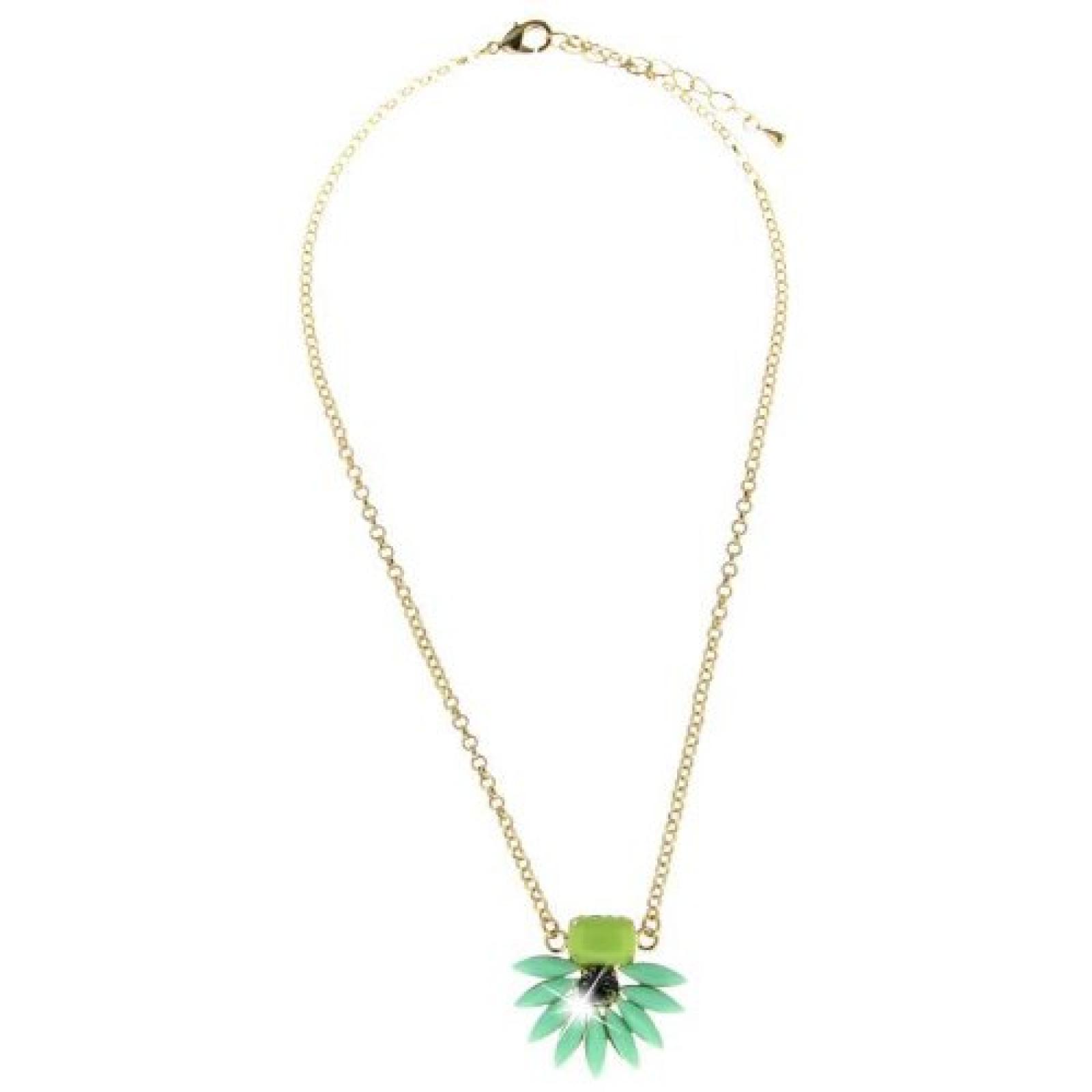Sweet Deluxe Damen Halskette Metall rhodiniert Glas 45 cm gold/grünkombi 3151