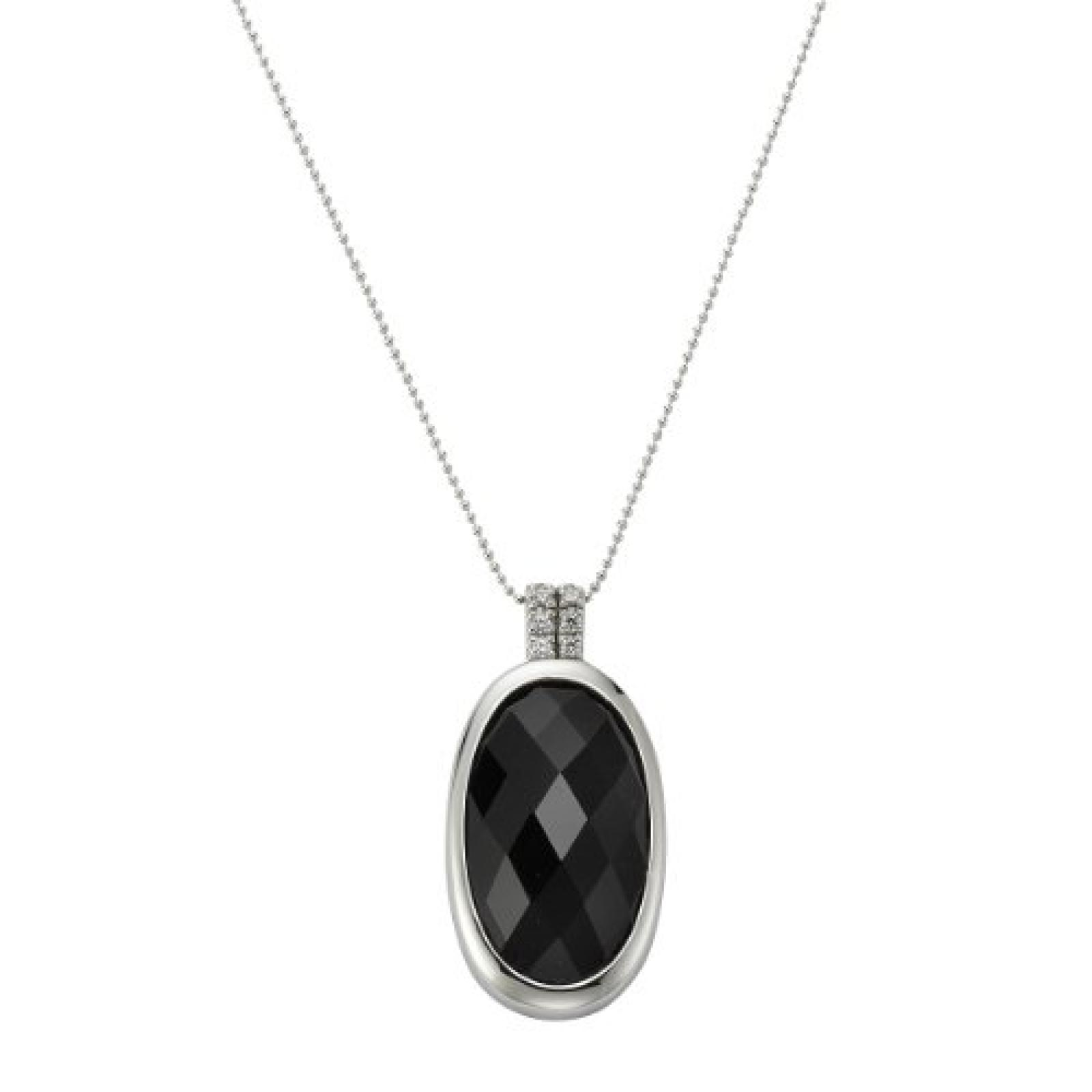 Celesta Damen-Anhänger mit Kette 45cm 925 Sterling Silber Kristall schwarz + Zirkonia weiß 500250613-1