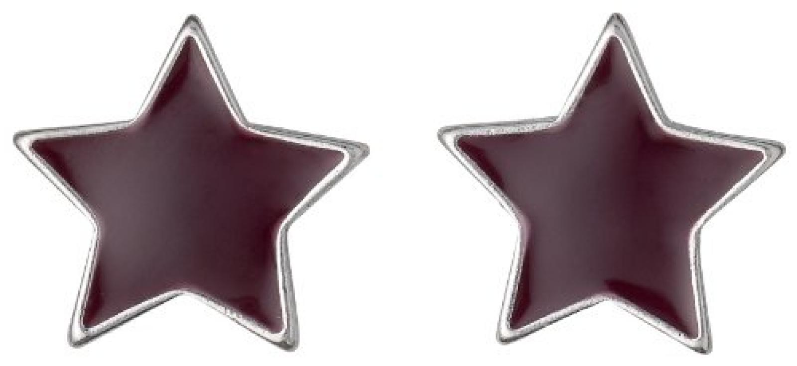 Pilgrim Jewelry Damen-Ohrstecker Messing Pilgrim Damen-Ohrstecker aus der Serie Enamel world versilbert,bordeaux 1.0 cm 251336313