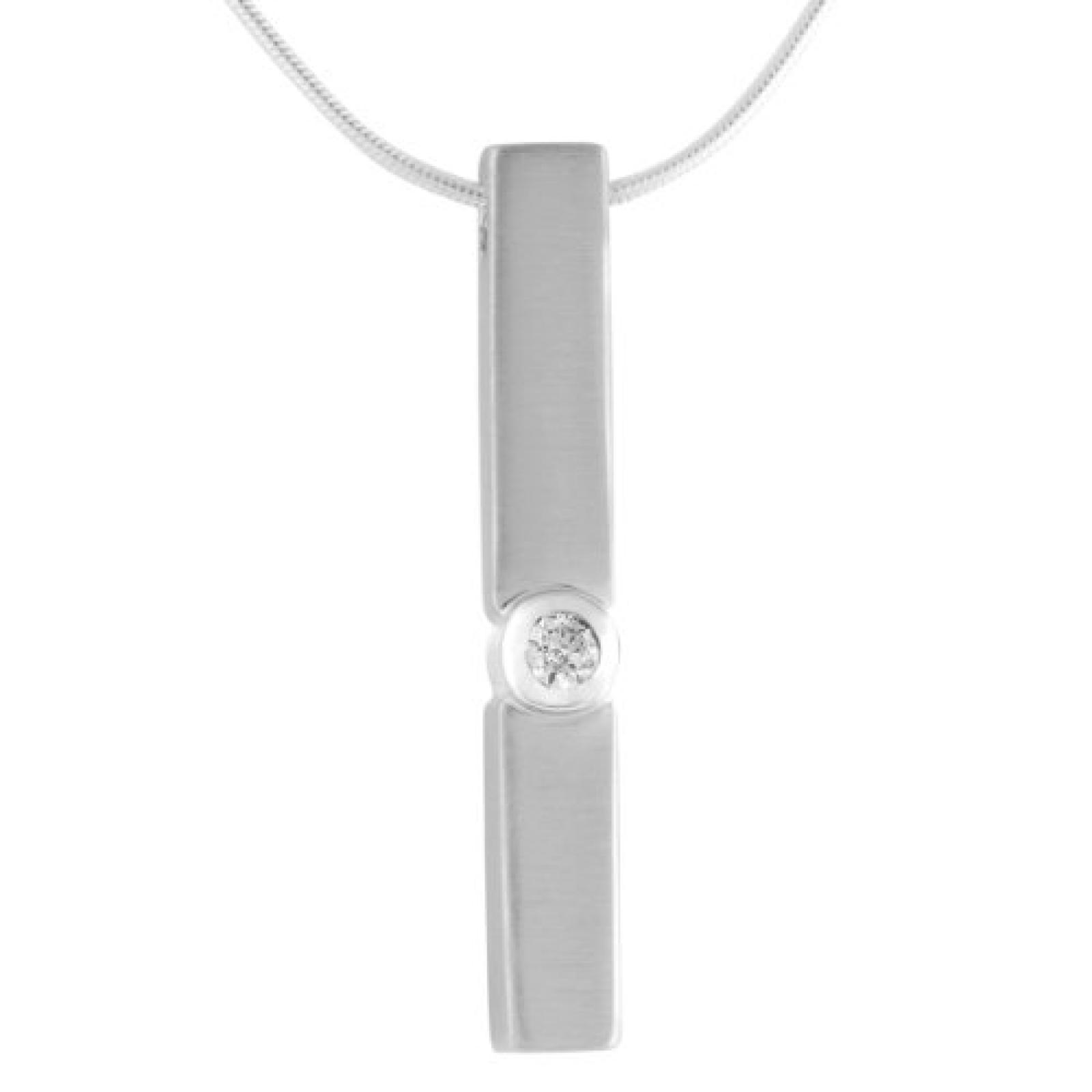 Bella Donna Damen-Collier 925 Sterlin Silber 1 Zirkonia weiss 45 cm 106386