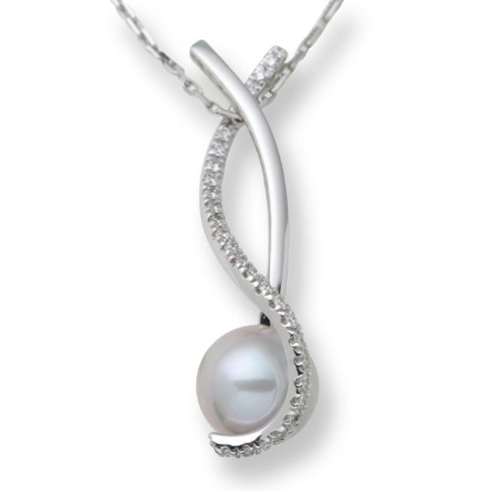 Miore M0842B Halskette 18 Karat (750) Weißgold mit graue Perle und Brillanten
