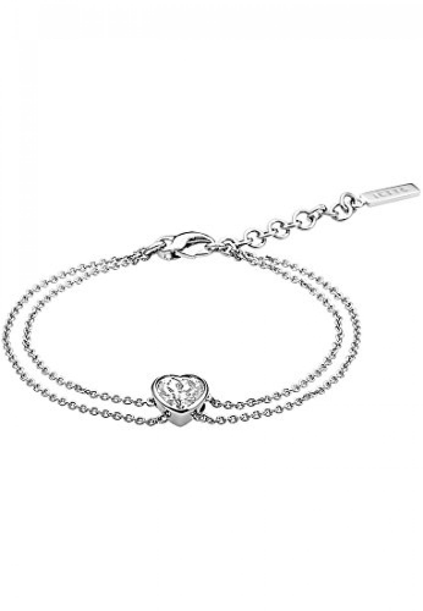 JETTE Silver Damen-Armband Heart 925er Silber rhodiniert 1 Zirkonia silber, One Size