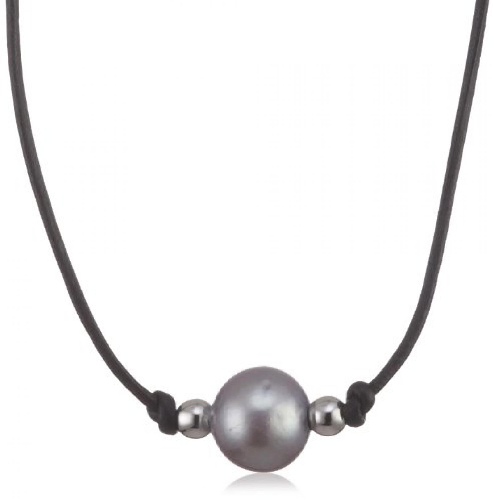 Valero Pearls Fashion Collection Damen-Kette Hochwertige Süßwasser-Zuchtperlen in ca.  10 mm Rund grau 925 Sterling Silber Leder schwarz  90 cm   60200913