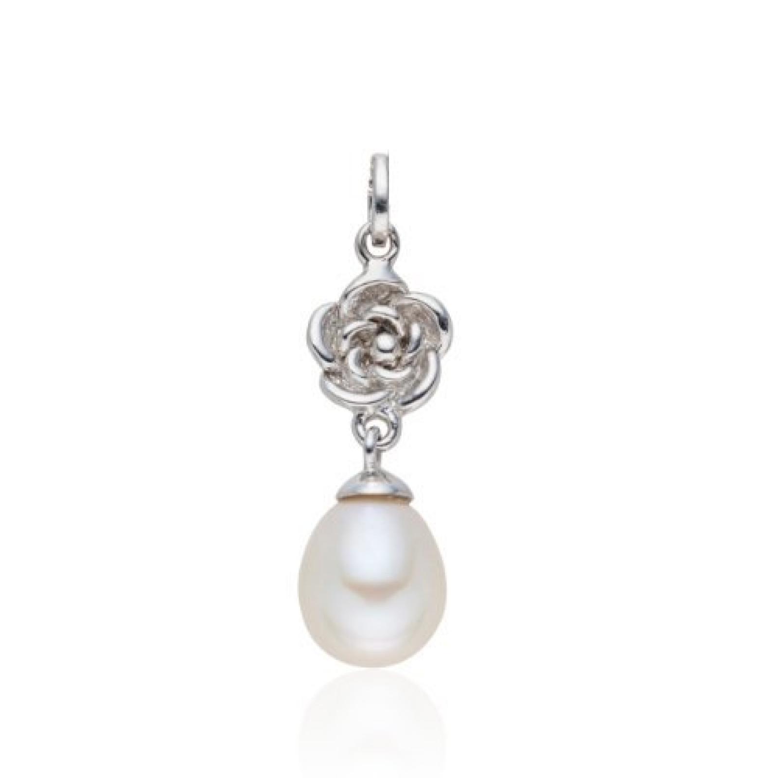 Valero Pearls Silver Collection Damen-Anhänger (ohne Kette) Hochwertige Süßwasser-Zuchtperlen in ca.  8-9 mmTropfenform weiß 925 Sterling Silber       60840034