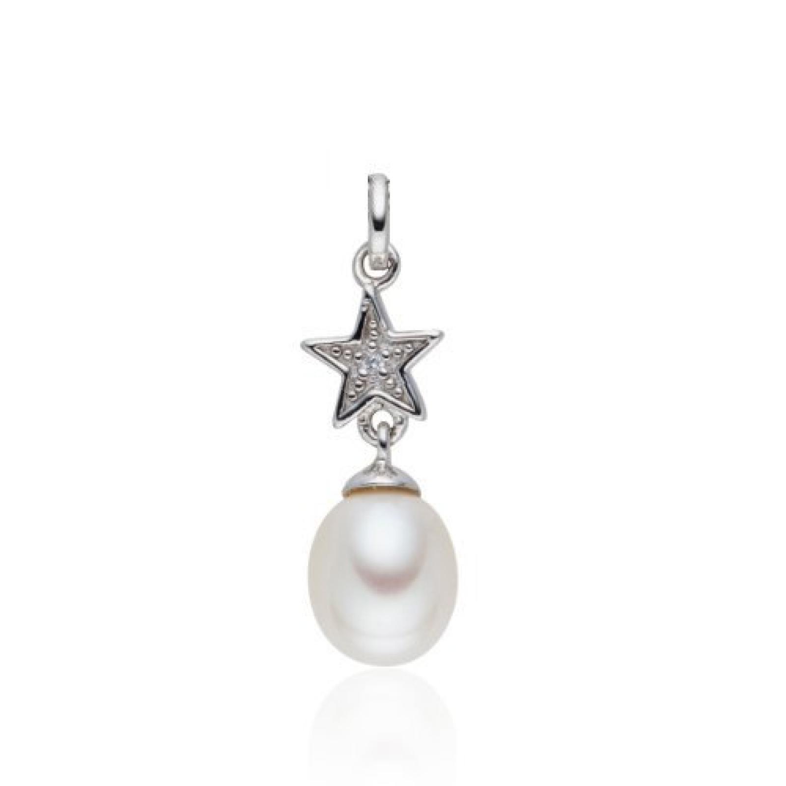 Valero Pearls Diamond Collection Damen-Anhänger (ohne Kette) Hochwertige Süßwasser-Zuchtperlen in ca.  8-9 mmOval weiß 925 Sterling Silber   Diamant    60840036