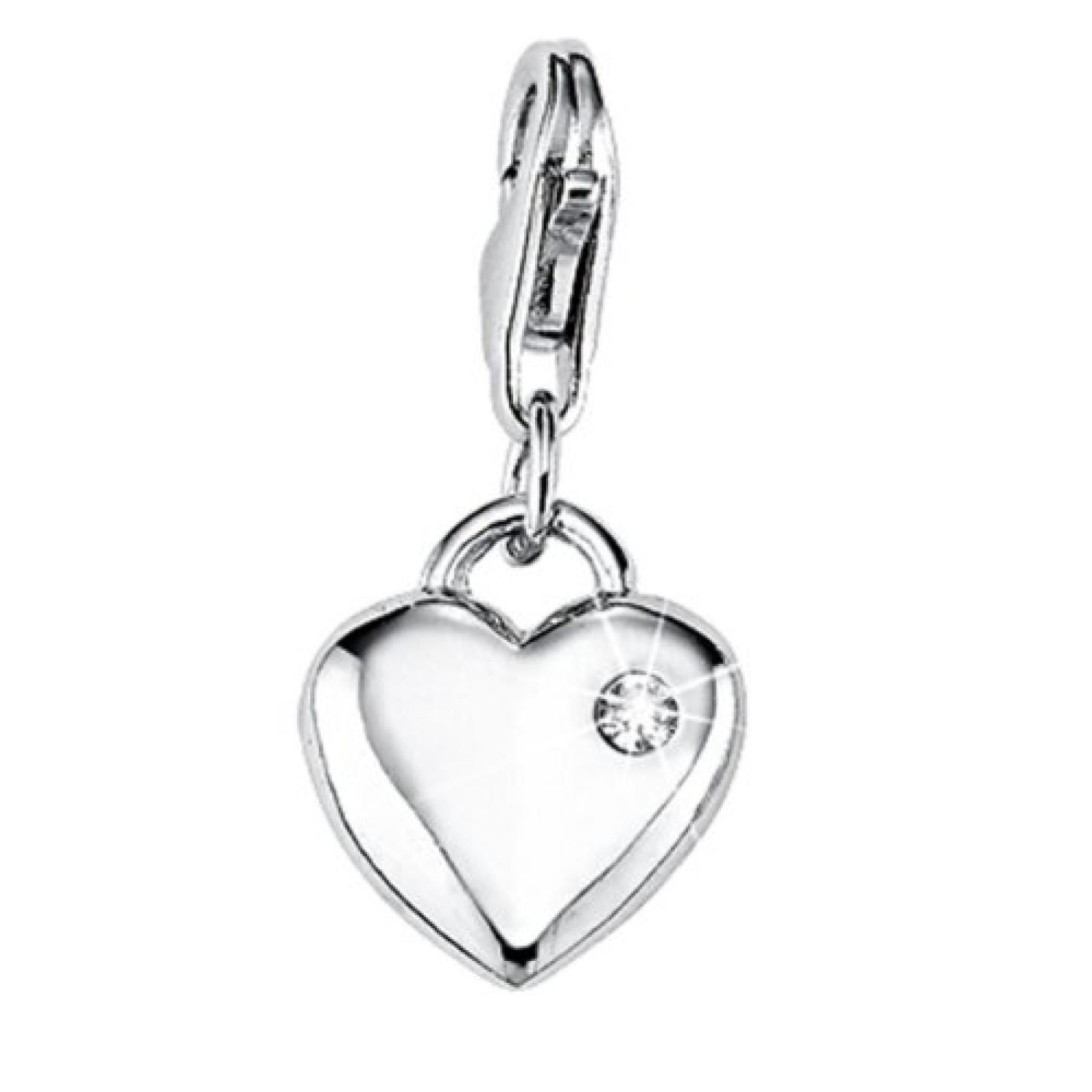 s.Oliver Damen-Charm 925 Sterling Silber Herz Zirkonia synth. Länge ca. 12 mm 385725