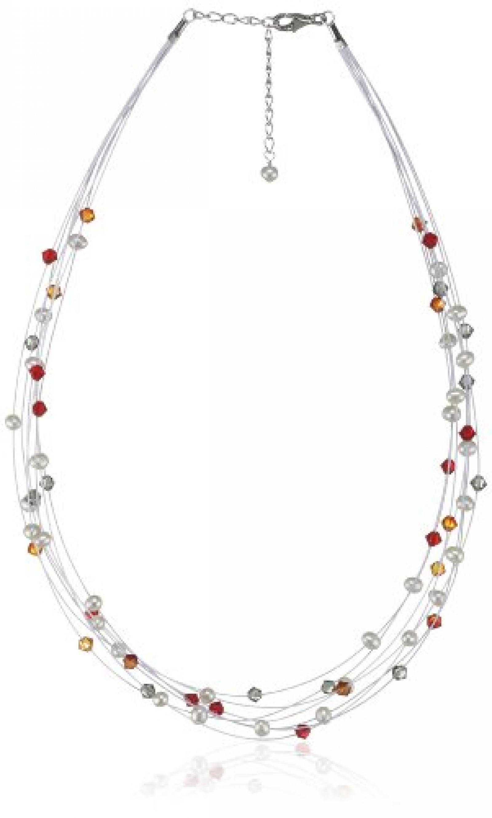 Valero Pearls Fashion Collection Damen-Kette Hochwertige Süßwasser-Zuchtperlen in ca.  6 mm Oval weiß 925 Sterling Silber   Swarovski Elements rot / orange 43 cm + 5 cm Verlängerung   400551