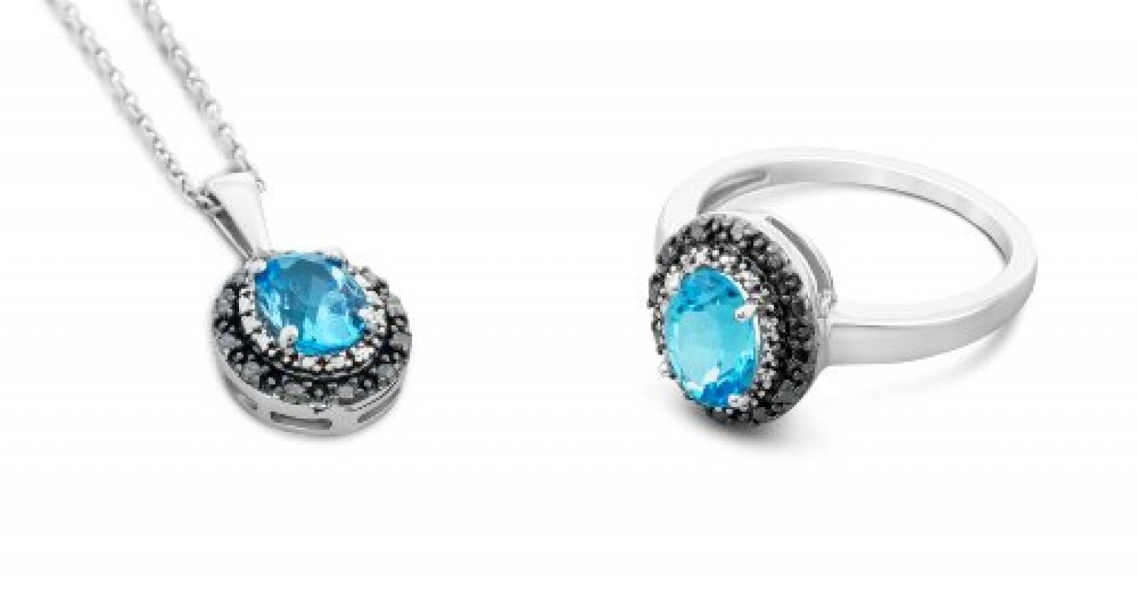 Miore Damen-Schmuckset Halskette und Ring 925 Sterling Silber Topas Blau mit Brillanten Gr. 54 (17.2) MSG001