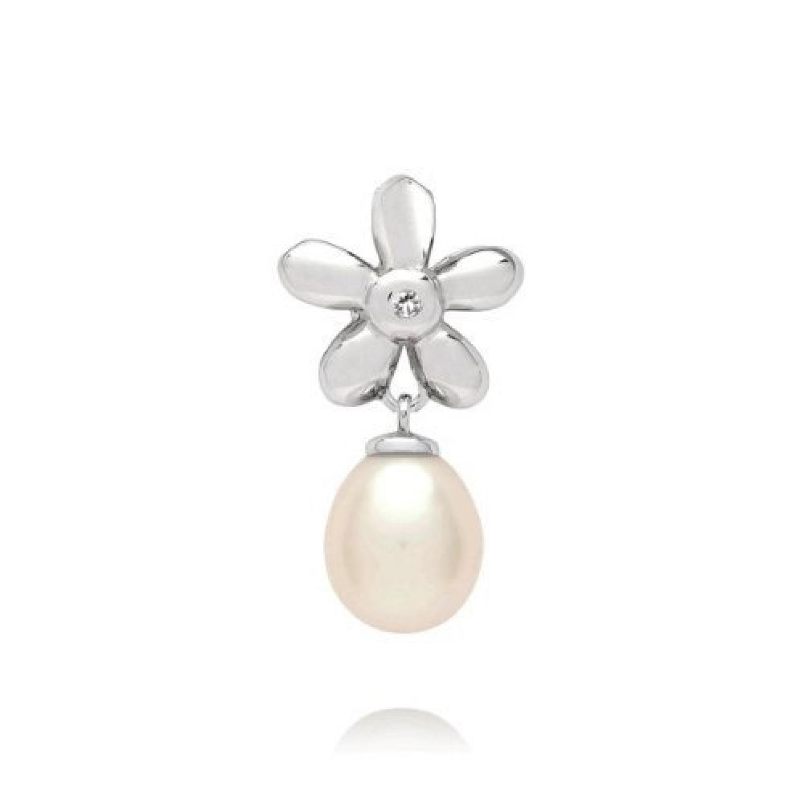 Valero Pearls Diamond Collection Damen-Anhänger (ohne Kette) Hochwertige Süßwasser-Zuchtperlen in ca.  8 mm Tropfenform weiß 925 Sterling Silber   Diamant    60020004