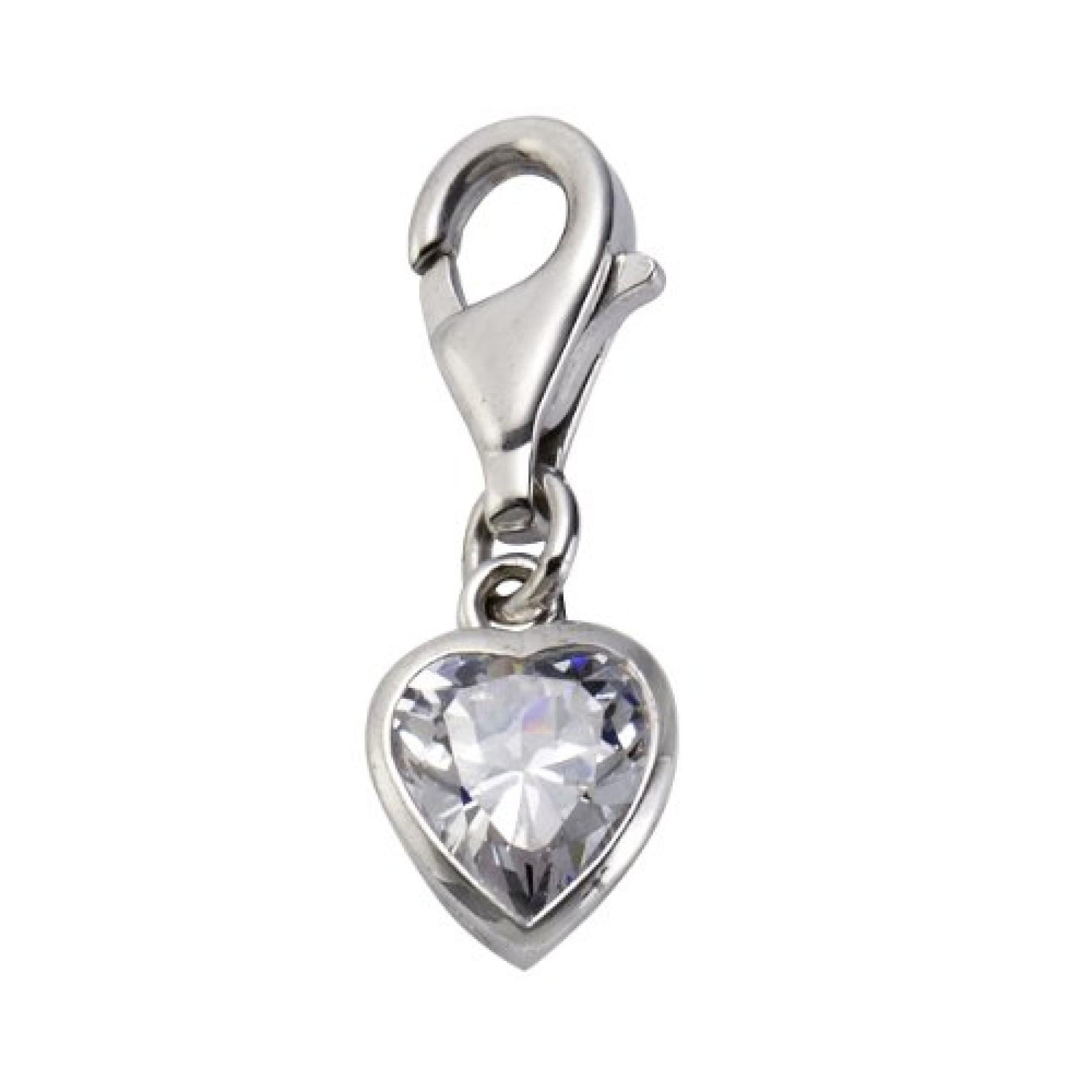ZEEme Damen-Charm Anhänger 925 Sterling Silber Herz Zirkonia 273240800