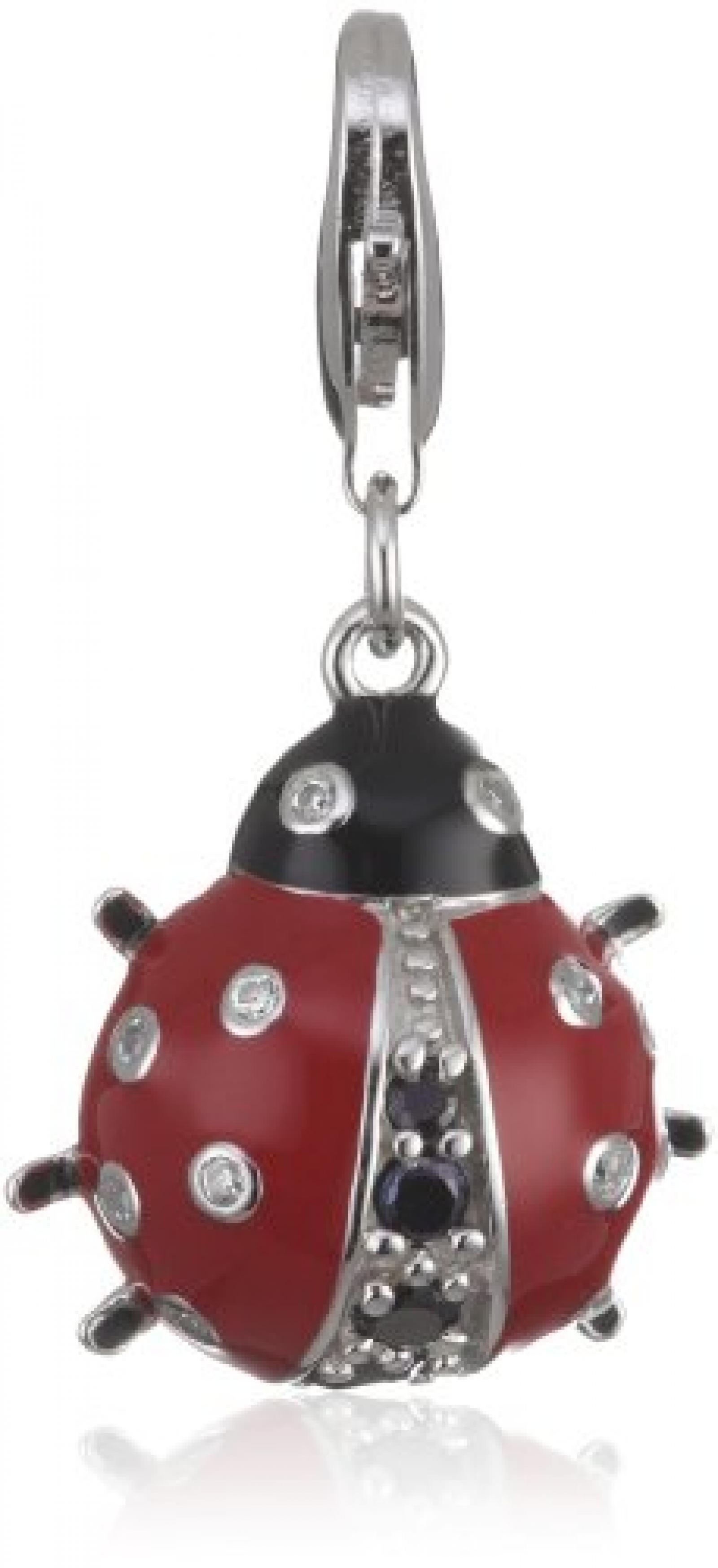 Rafaela Donata Charm Collection Damen-Charm Marienkäfer 925 Sterling Silber Zirkonia weiß Emaille schwarz / rot  60600140