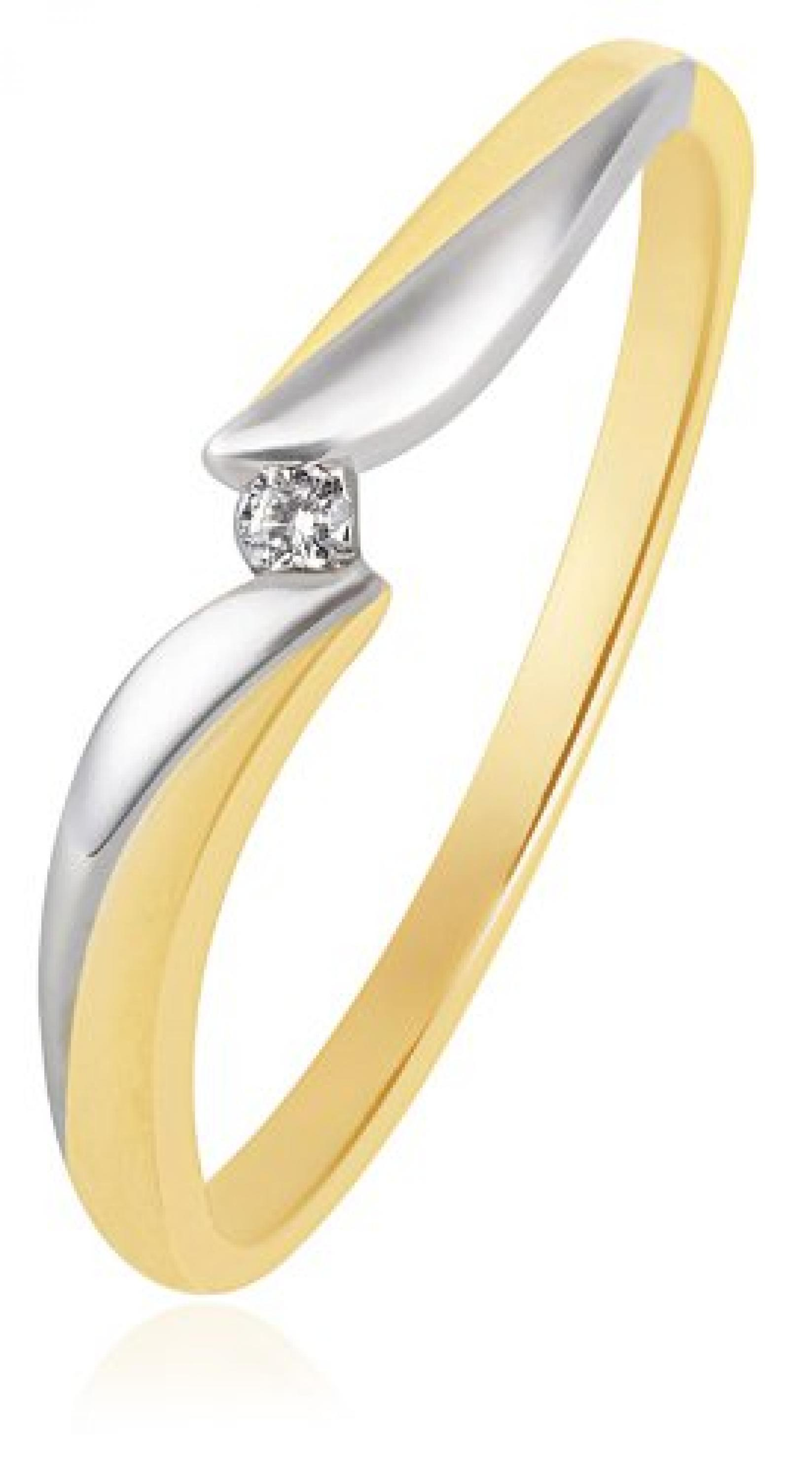 Goldmaid Damen-Ring Bicolor 585 Gold 1 Brillant 0,02 ct. So R3244BI