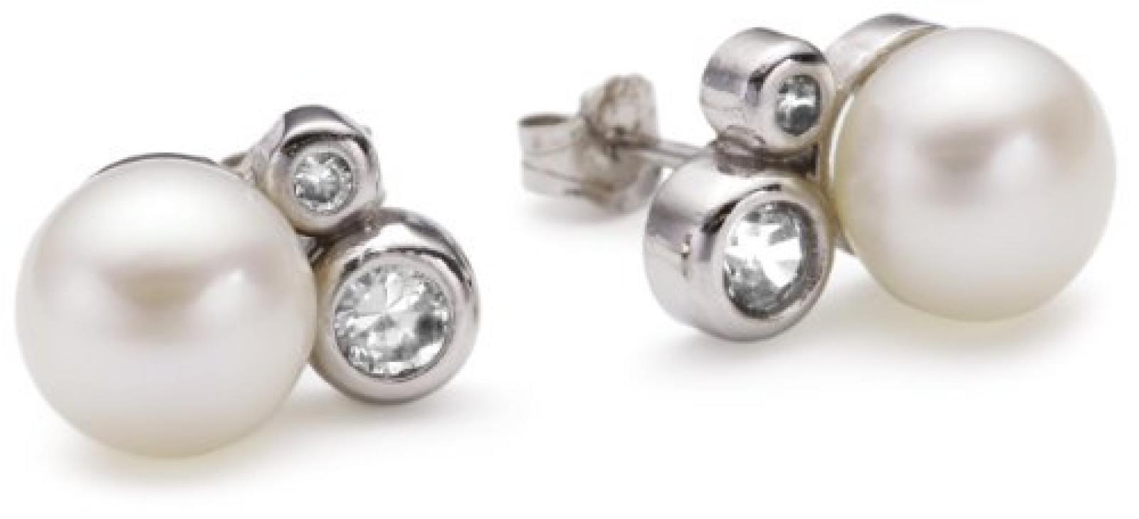Valero Pearls Silver Collection Damen-Ohrstecker Hochwertige Süßwasser-Zuchtperlen in ca.  8 mm Button weiß 925 Sterling Silber   Zirkonia weiß    60200011