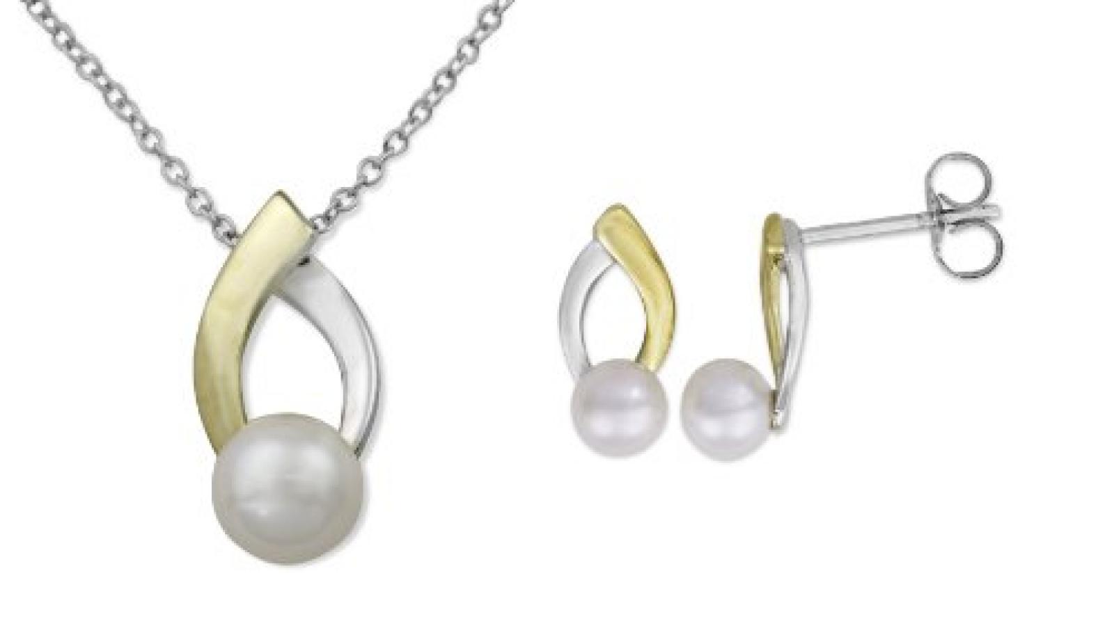 MIORE Damen-SchmuckSet Ohrringe und Anhänger 9 Karat (375) Bicolor Süßwasser-Zuchtperlen USP025WY
