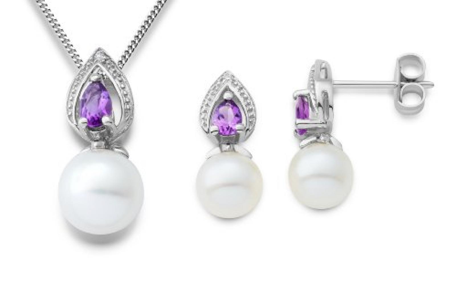Miore Damen-Set: Halskette + Ohrringe Süßwasser-Zuchtperlen Tropfen Amethyst und Diamant 9 Karat 375 Weißgold MSET020
