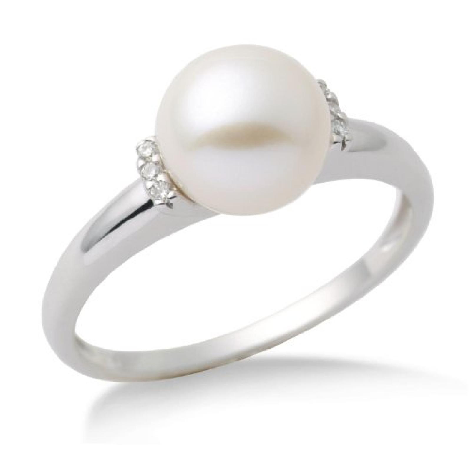 Miore Damen-Ring 9 Karat 375 Weißgold Perle 6 Brillanten 0.04 Karat MG9006RM
