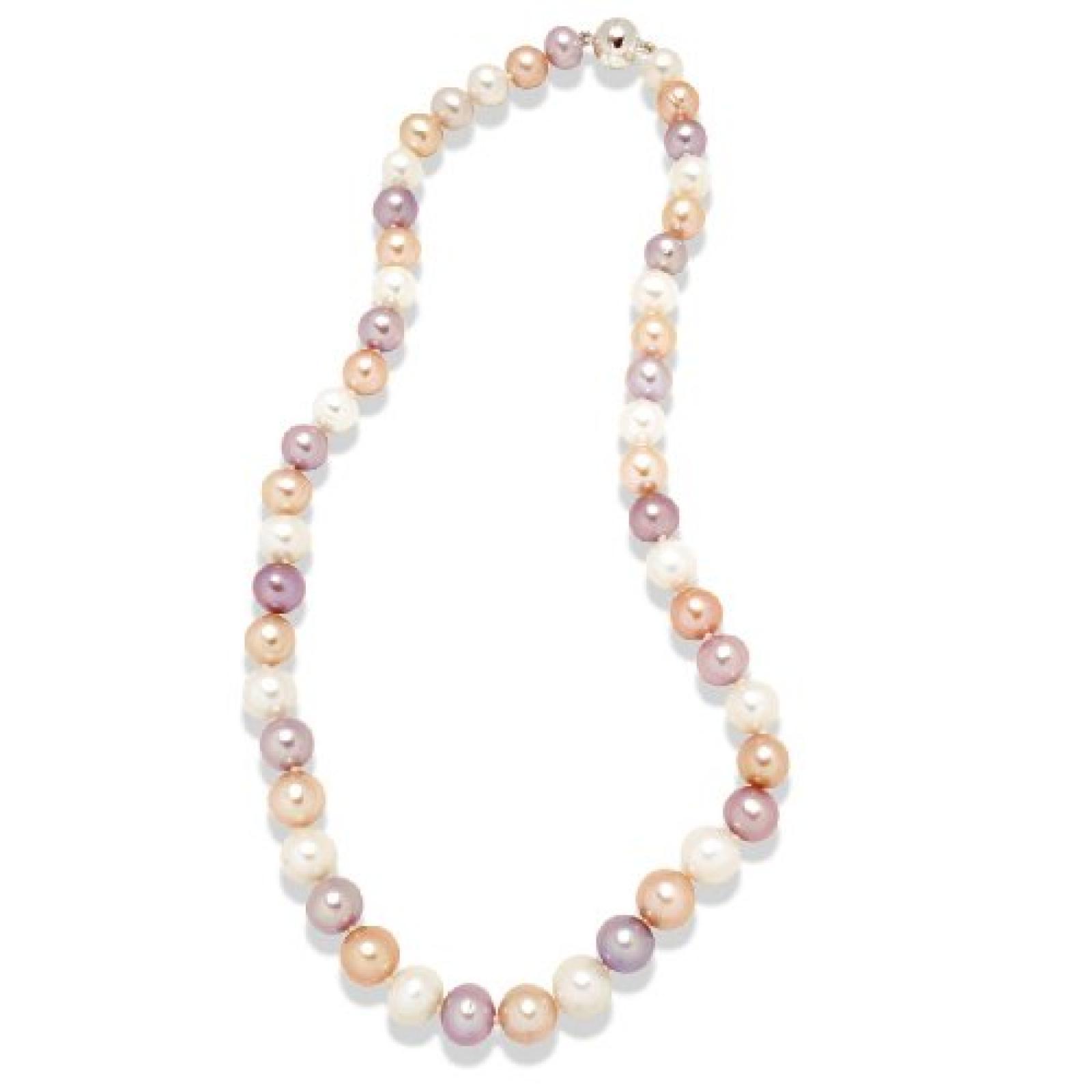 Valero Pearls Classic Collection Damen-Kette Hochwertige Süßwasser-Zuchtperlen in ca.  10 mm Rund weiß / apricot / flieder 925 Sterling Silber    52 cm   340325