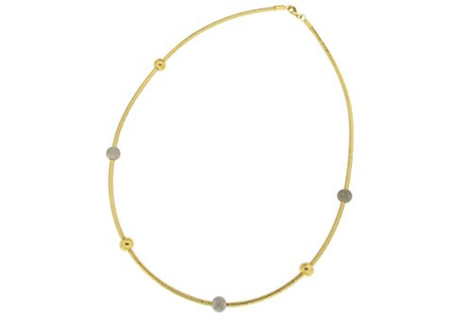 Kettenworld Damen-Collier vergoldet im Mesh-Design mit bunten Kugeln 0 317018
