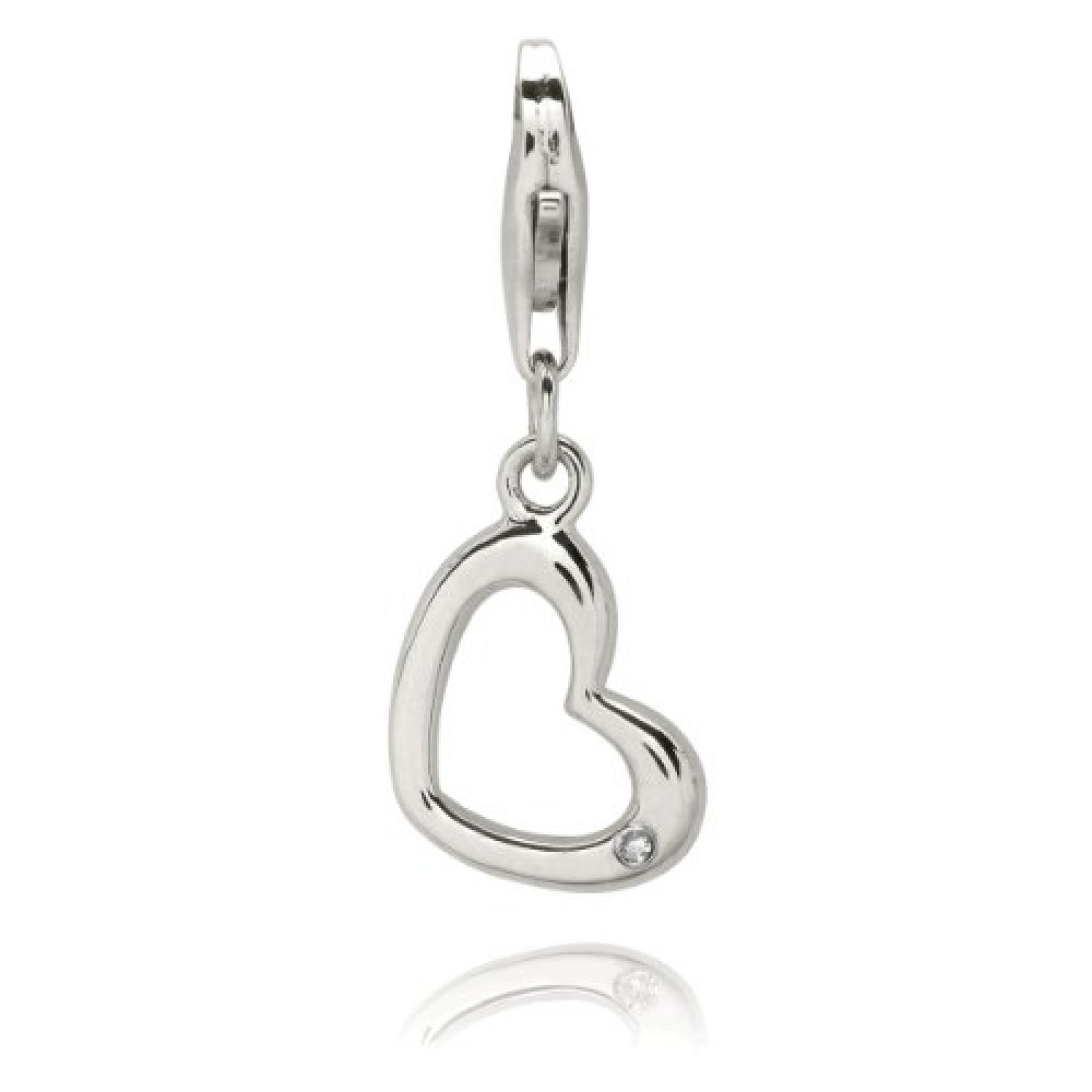 Rafaela Donata Damen-Charm Secret Diamonds Herz Sterling Silber weiß 60901022