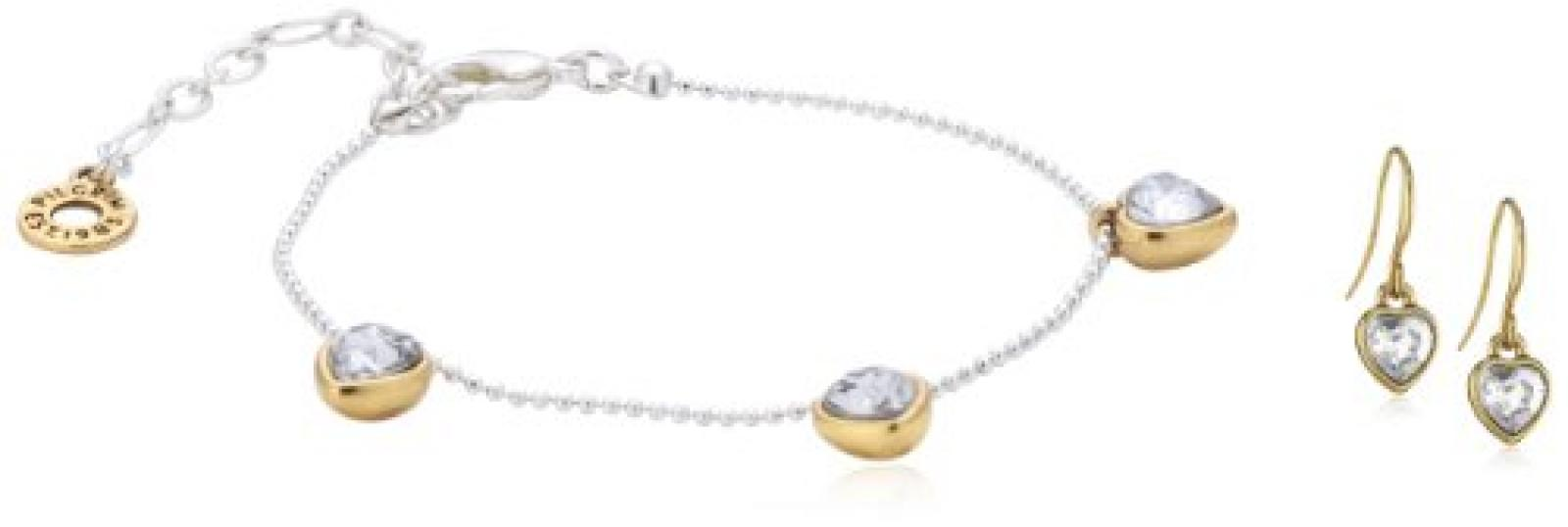 Pilgrim Damen-Schmuckset Valentine: Armband + Ohrringe Messing Kristall weiß 901416009