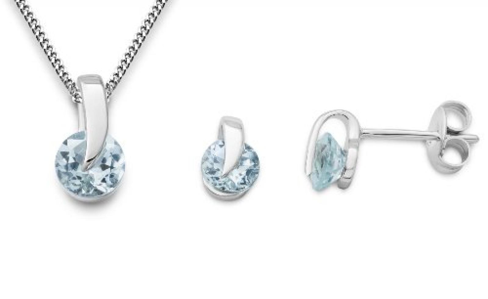 Miore Damen-Schmuckset Halskette + Ohrstecker 375 Weißgold 3 Aquamarine 1.33ct blau 45 cm MSET012