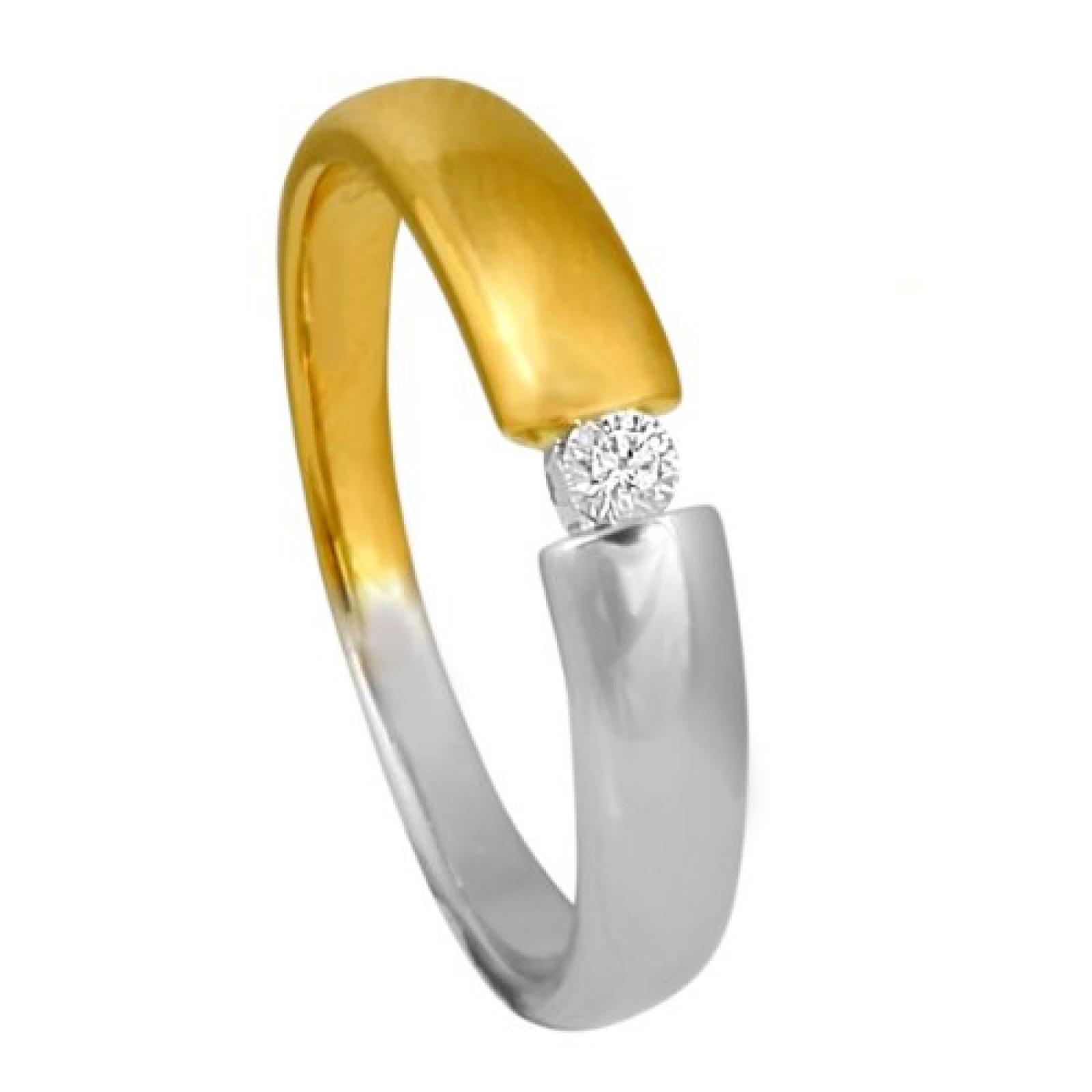 Bella Donna Damenring 585/000 Gelbgold Weißgold 1 Brillant 0,05ct. getöntes Weiß Lupenrein