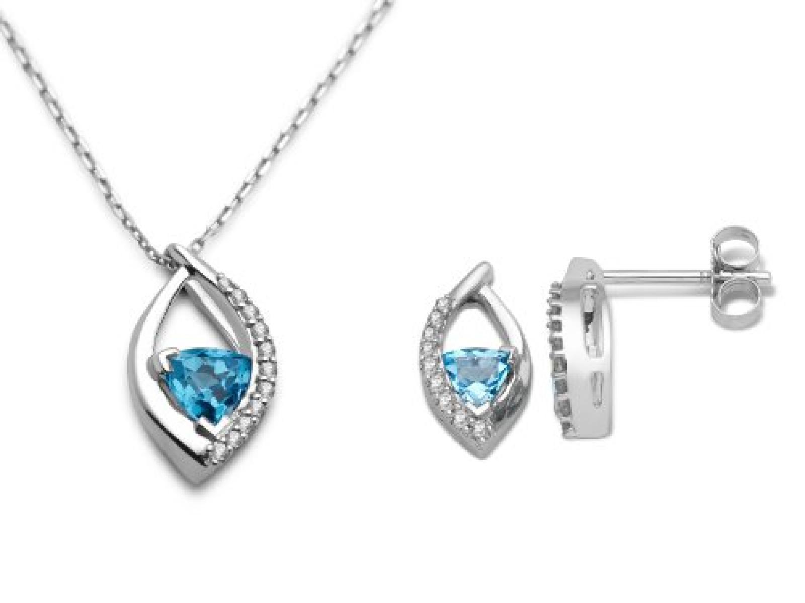 MIORE Damen-Schmuckset Ohrringe und Anhänger 9 Karat (375) Weißgold Blau Topas und Diamant USP019W