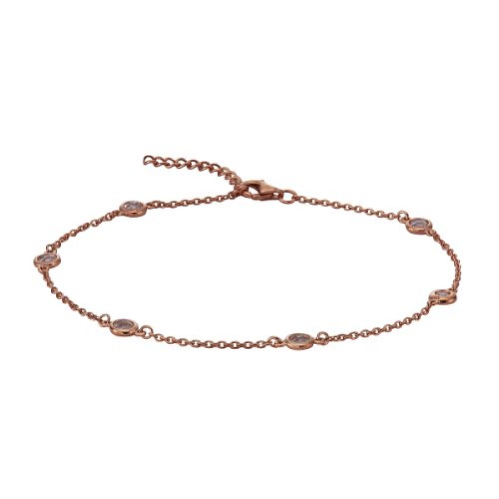 ZEEme Damen-Fußkettchen Silber vergoldet Zirkonia weiß 358200008-1