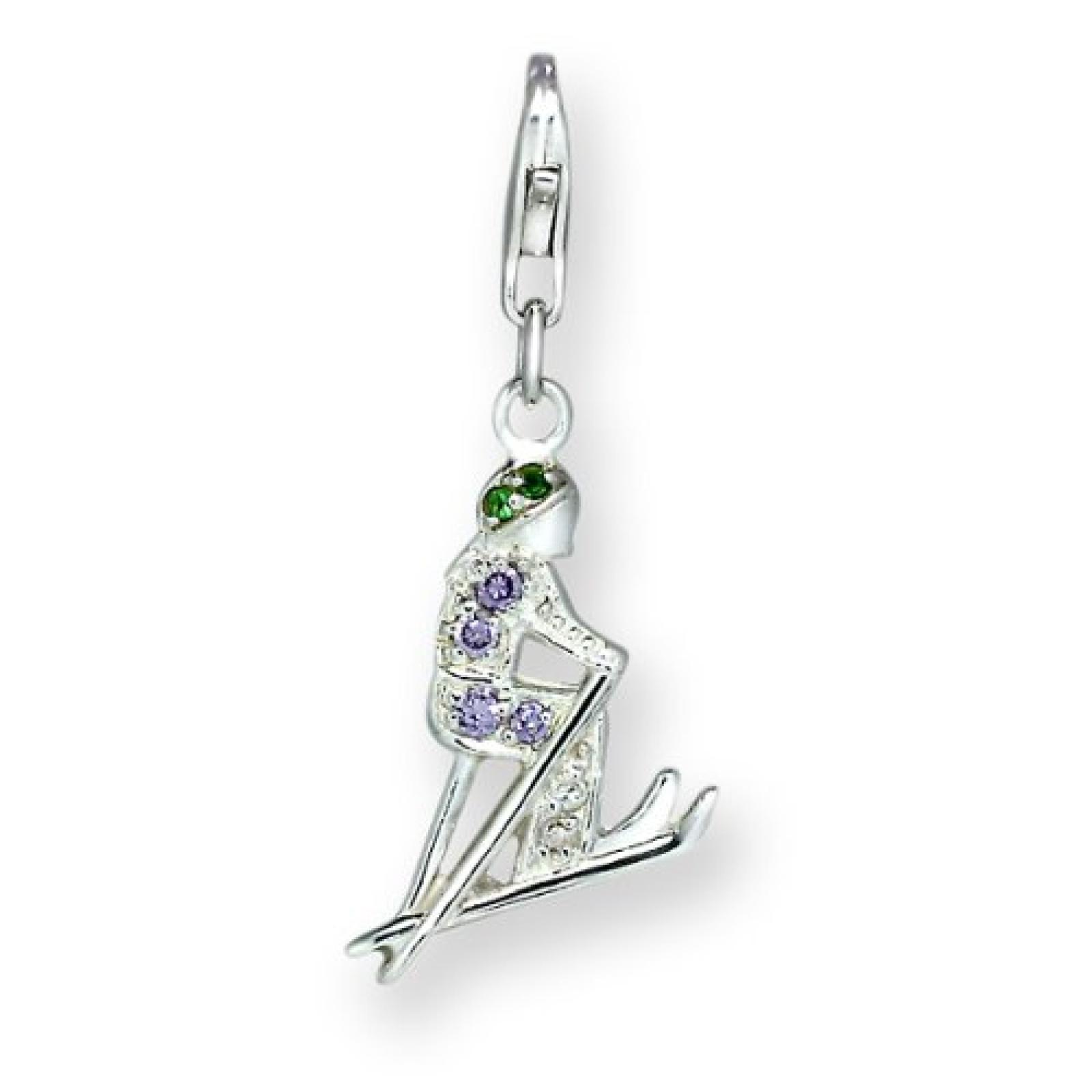 Rafaela Donata Charm Collection Damen-Charm Ski 925 Sterling Silber Zirkonia lila / grün  60600104