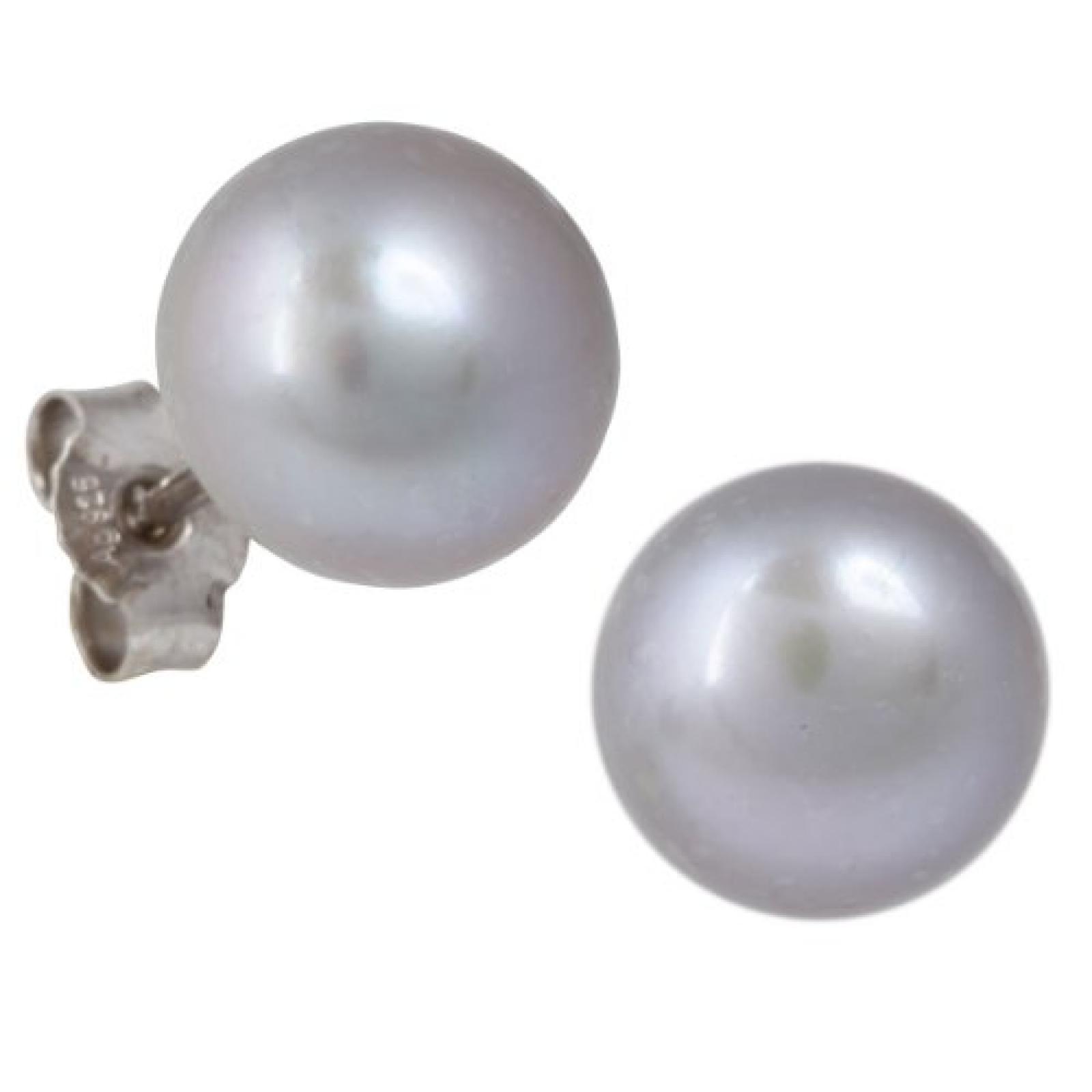 Bella Donna Damen Perlen-Ohrstecker 925/000 Silber 2 Süßwasserzucht-Perlen grau Button 10,0 - 10,5 mm 656307
