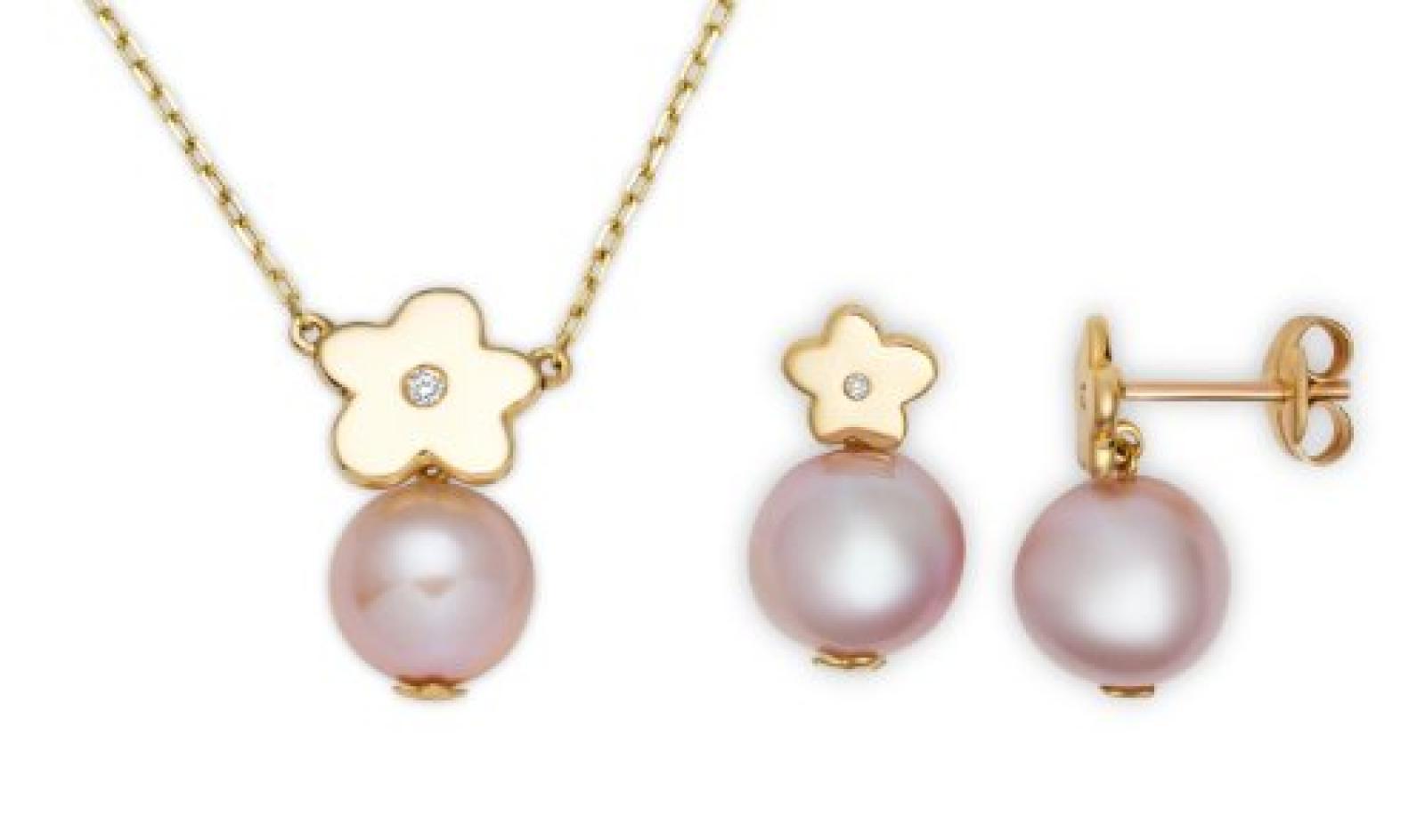 Miore Damen-Set: Halskette + Ohrringe Süßwasser-Zuchtperlen und Diamant 18 Karat (750) Gelbgold MSET003