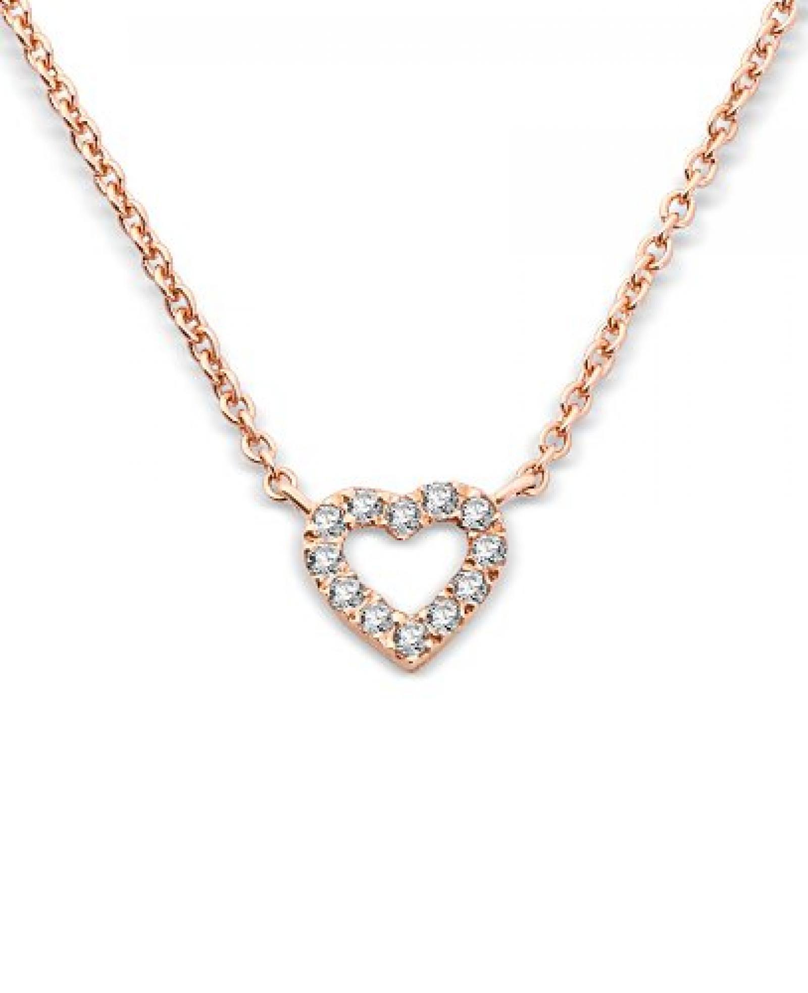 Miore Damen-Halskette kleine Herz Brillanten 9 Karat 375 Rotgold 42cm + 3cm MY013N
