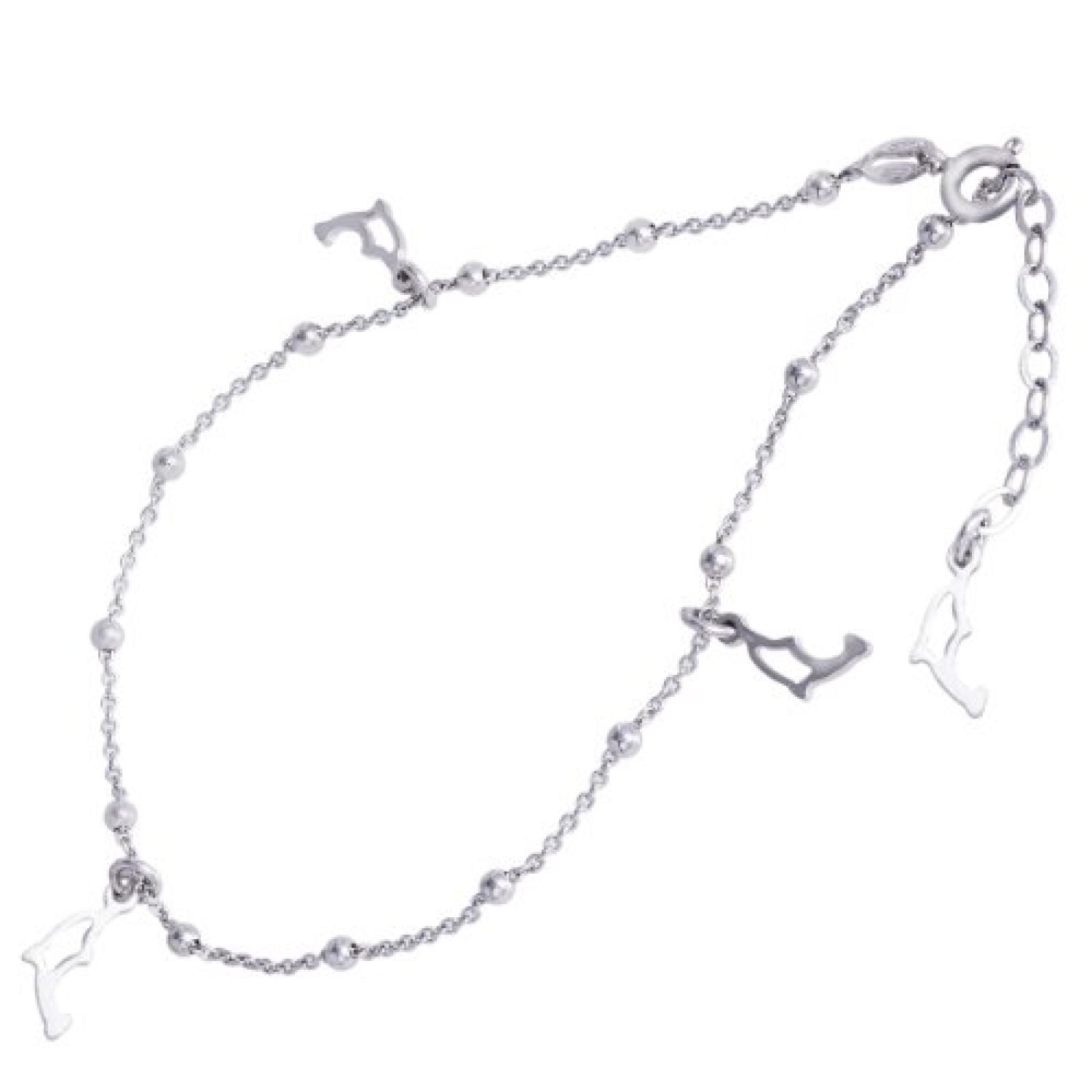 Bella Donna Damen-Fußkettchen 925 Sterling Silber Federring 25 cm 76552509