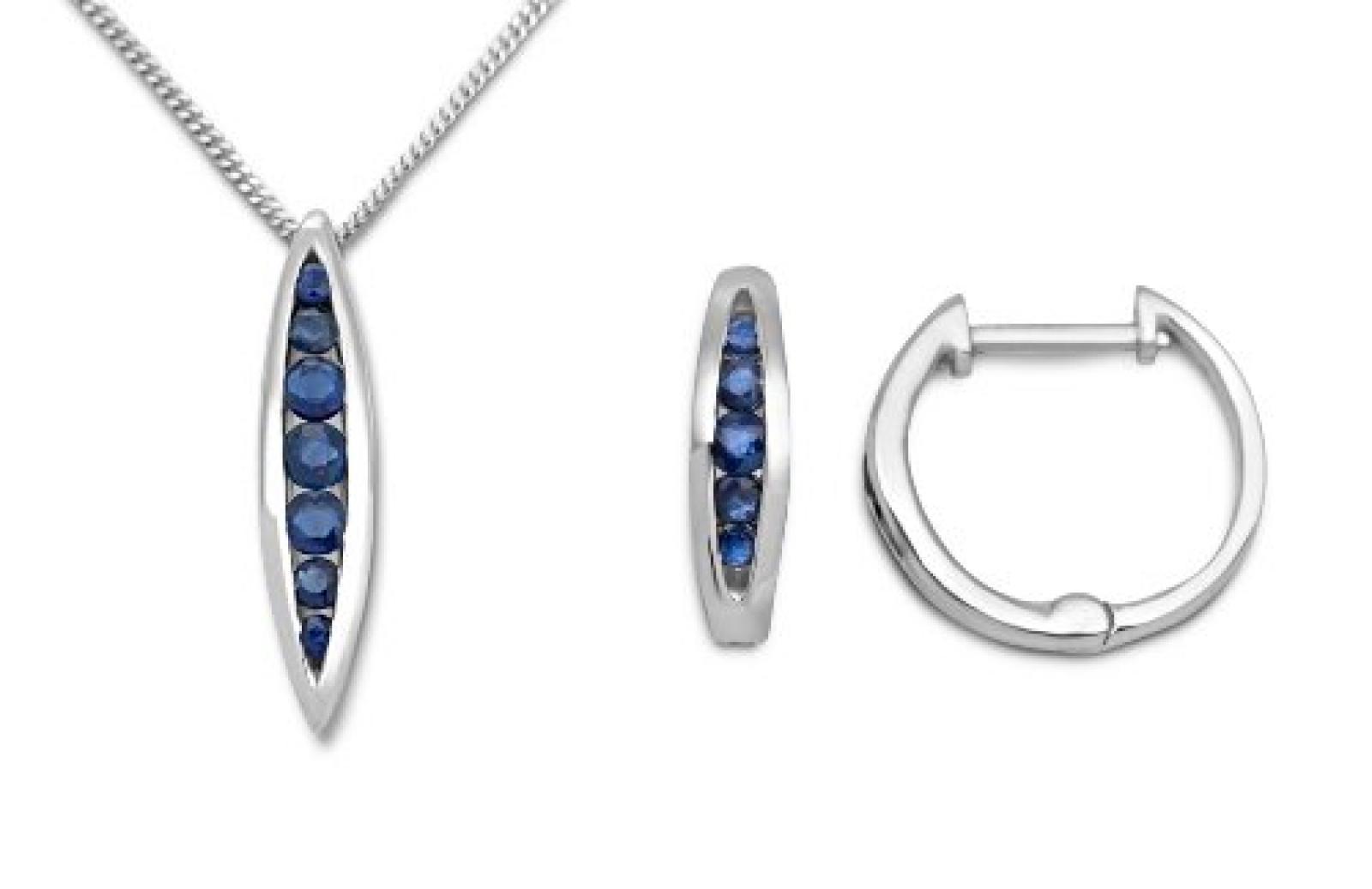 Miore Damen-Set: Halskette + Ohrringe Saphir Blau 9 Karat 375 Weißgold MSET021