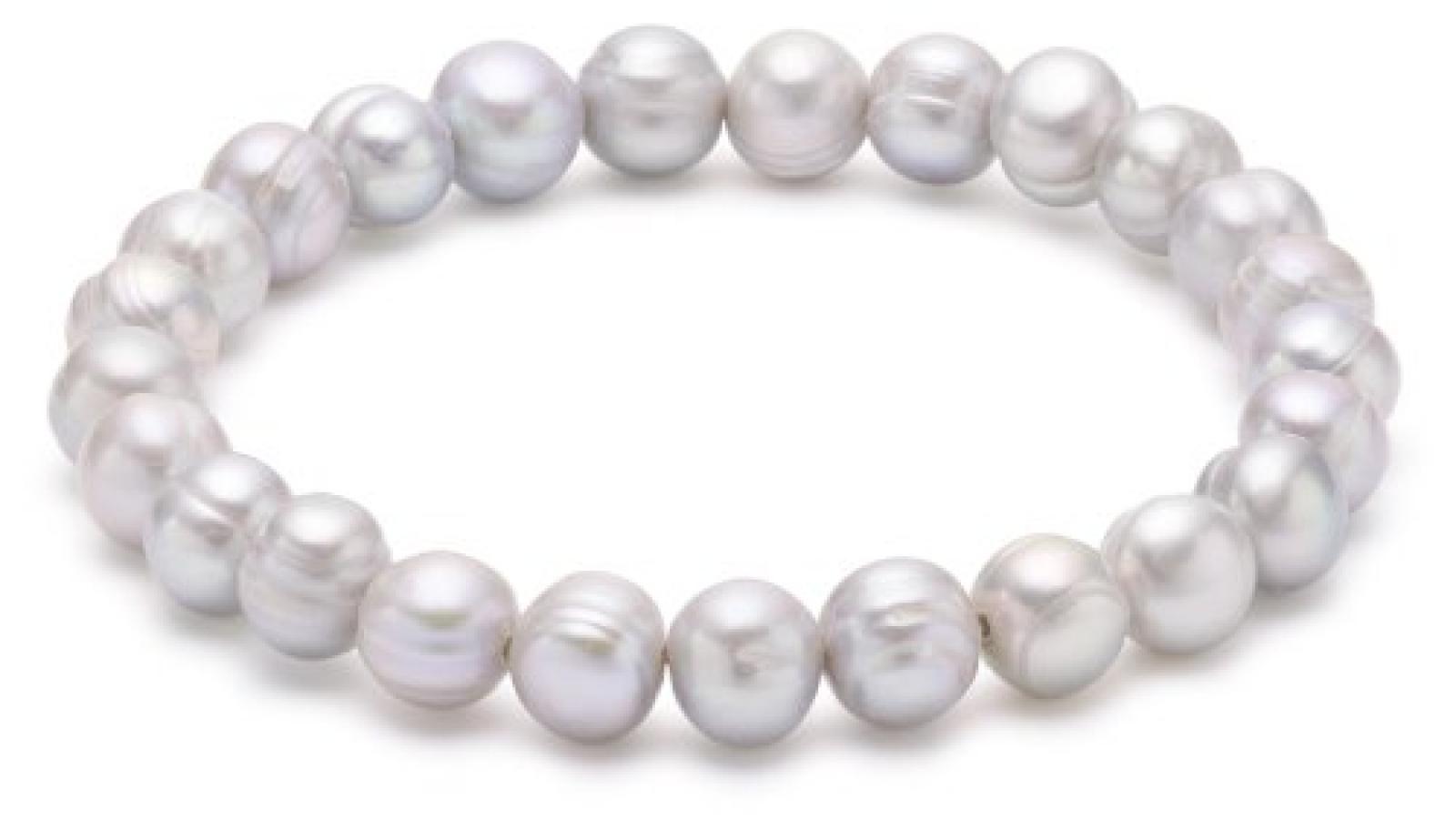 Valero Pearls Classic Collection Damen-Armband elastisch Hochwertige Süßwasser-Zuchtperlen in ca.  8 mm Barock hellgrau     19 cm   446650
