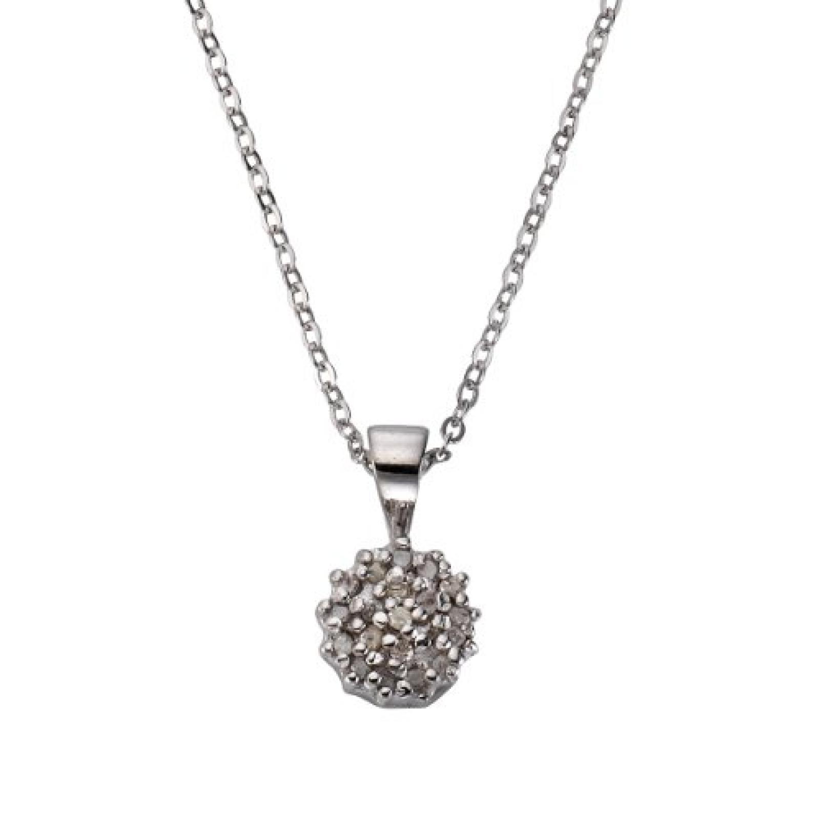 Celesta Damen-Halskette 925 Sterling Silber 45cm Zwischenöse bei 42cm 20x Ice-Diamanten 0,10ct. 500244610