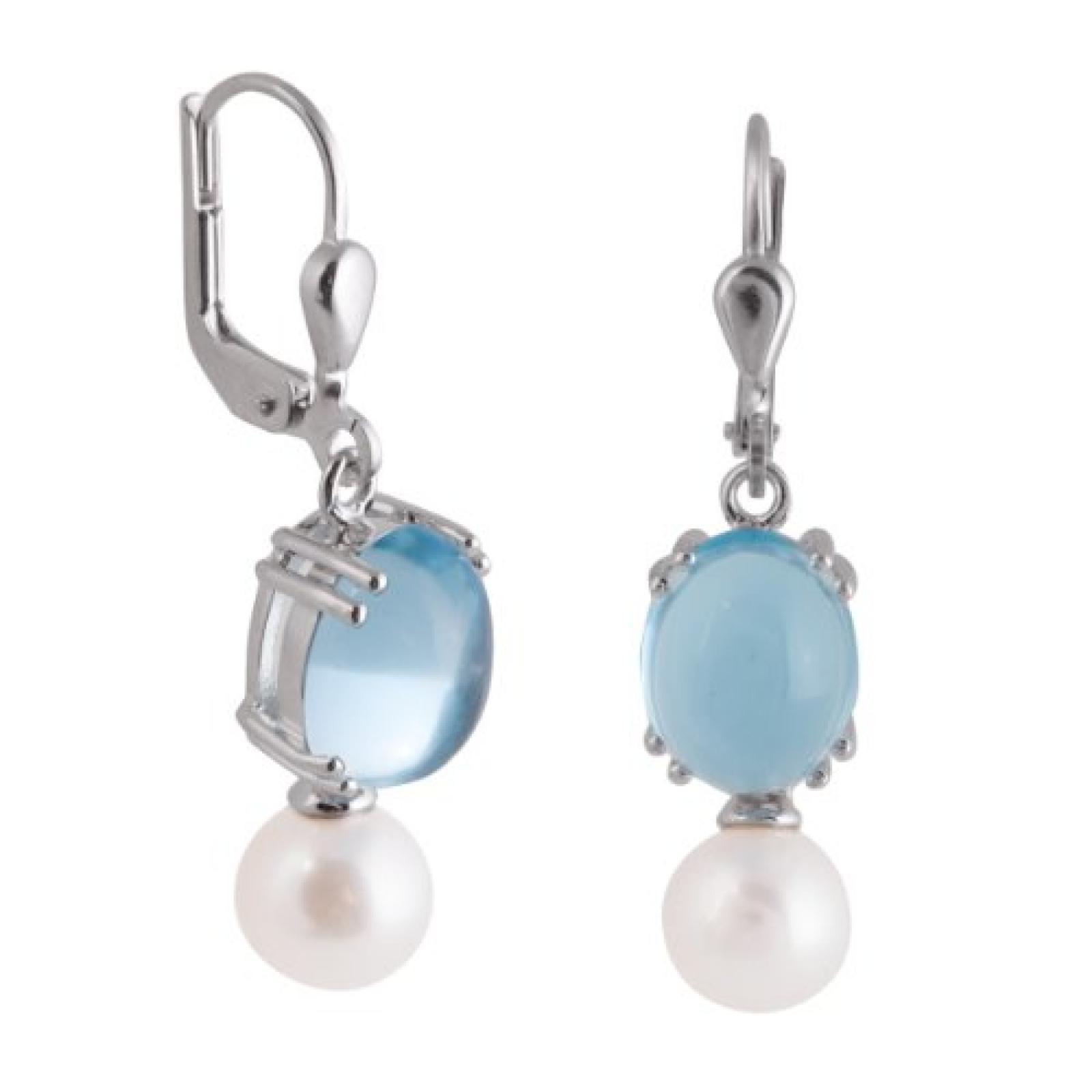 Bella Donna Damen-Ohrhänger 333 Weißgold 2 Topase behandelt blau 10x8 mm 2 Süßwasser- Zuchtperlen 796706