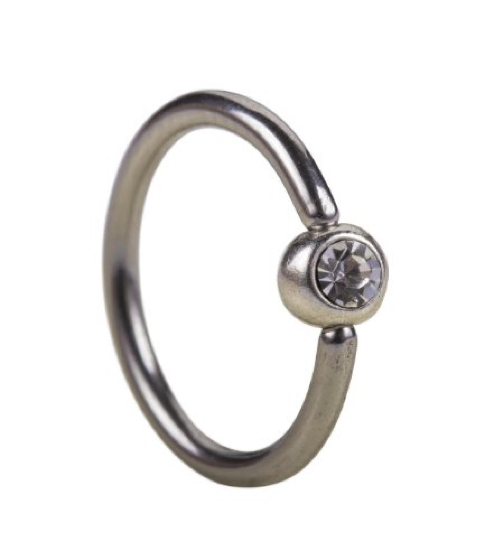 SIX Piercing-Ring aus echtem Silber mit kleiner Silber-Kugel (61-590)