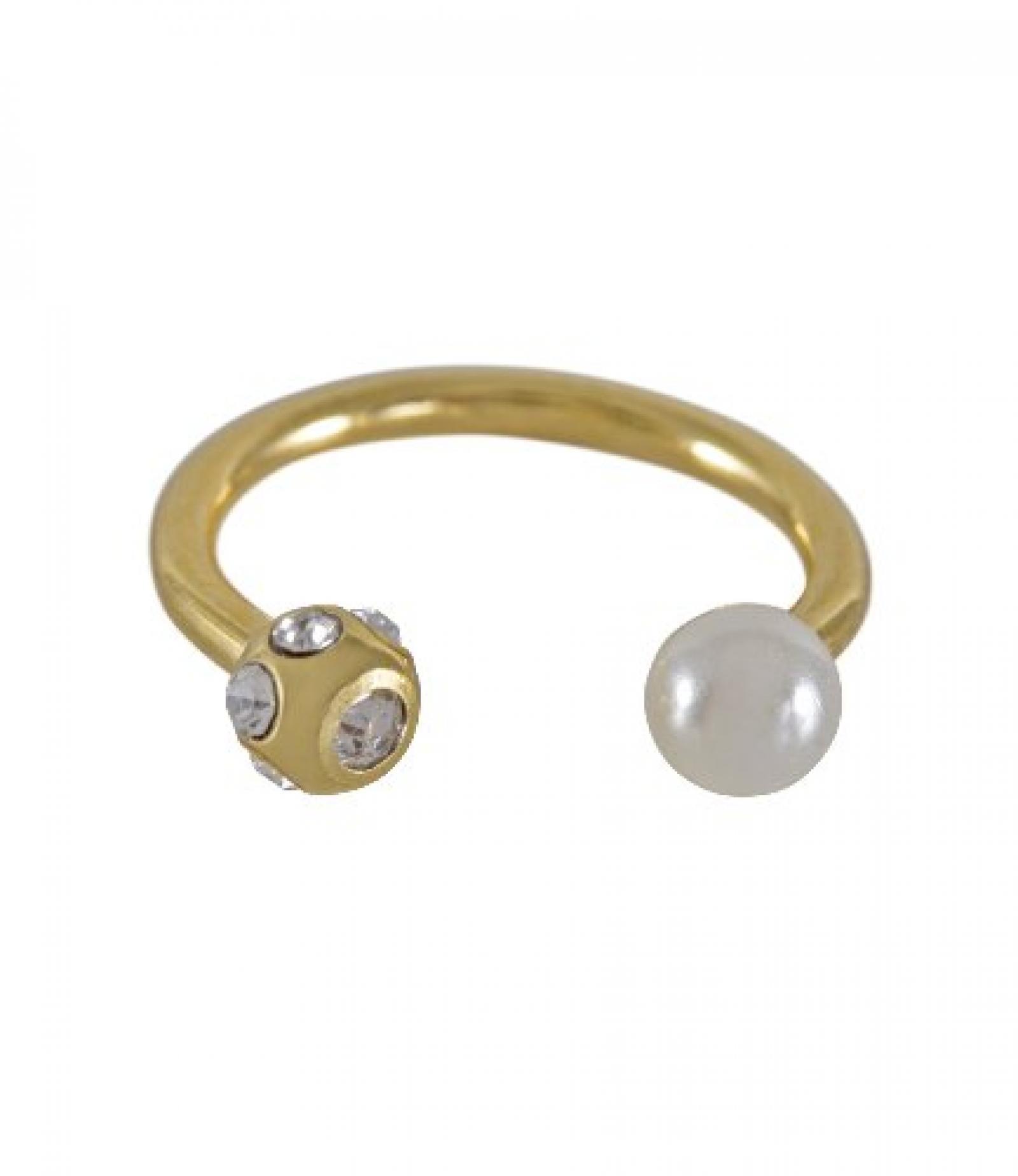 SIX goldenes Lippenpiercing mit Perle und Strasskugel (269-326)