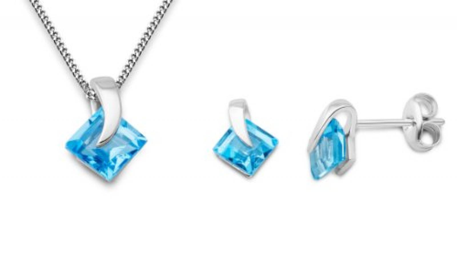 Miore Damen-Set: Halskette + Ohrringe Blau Topas 9 Karat 375 Weißgold MSET011