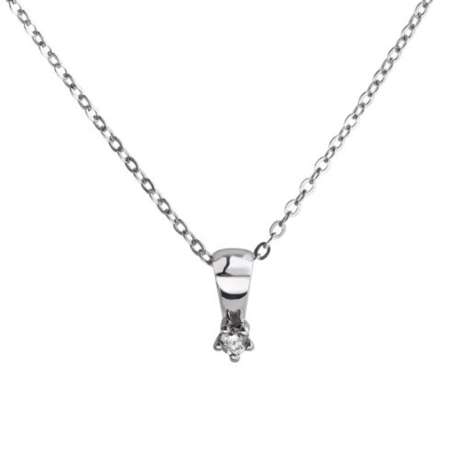 Celesta Damen-Halskette 925 Sterling Silber 45cm Zwischenöse bei 42cm 1 Brillanten 0,05ct. 500244547-45-1