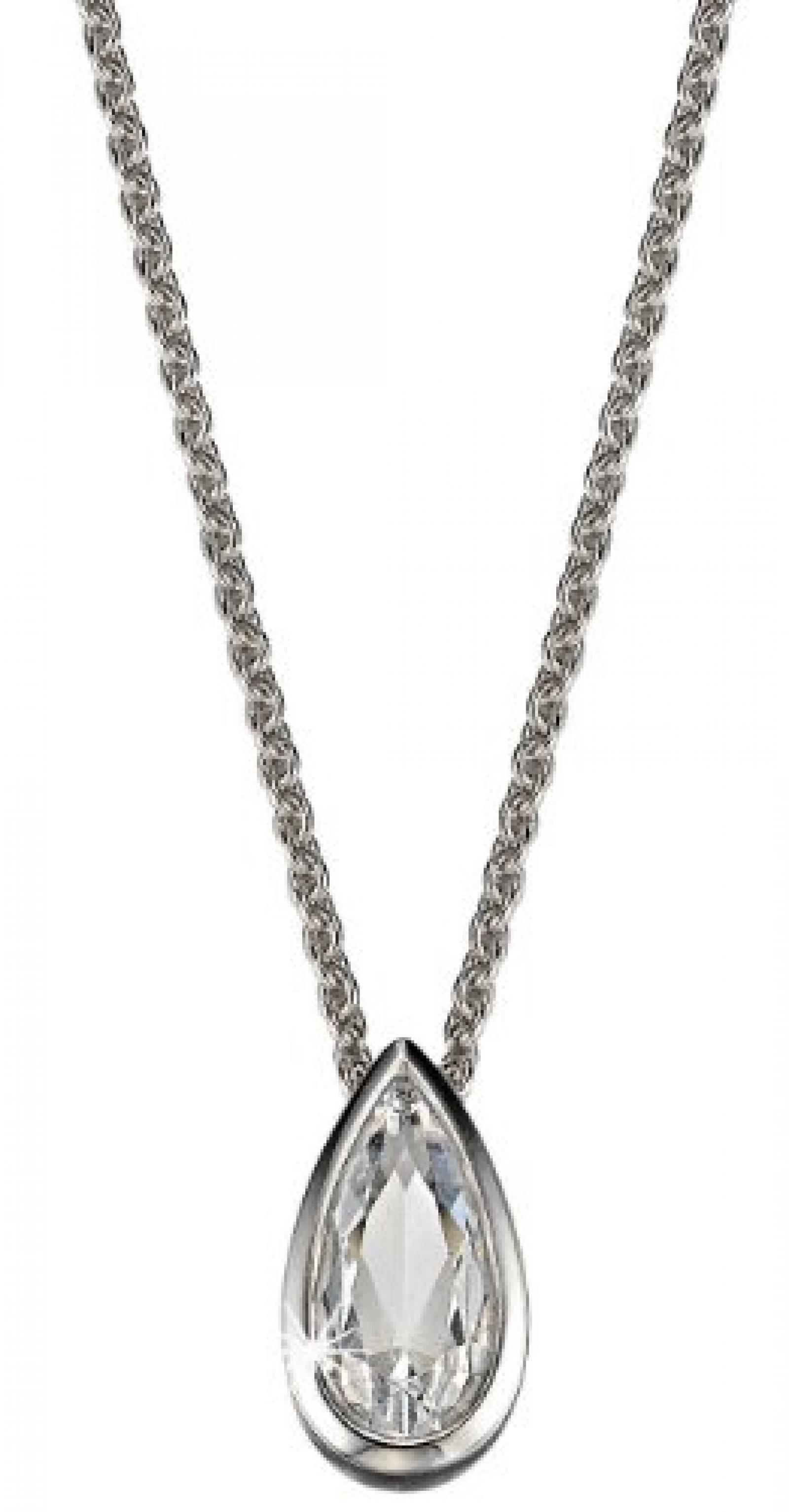 Pierre Cardin Damen Halskette 925 Sterling Silber rhodiniert Kristall Zirkonia Yeux en amandes 42 cm weiß PCNL90416A420