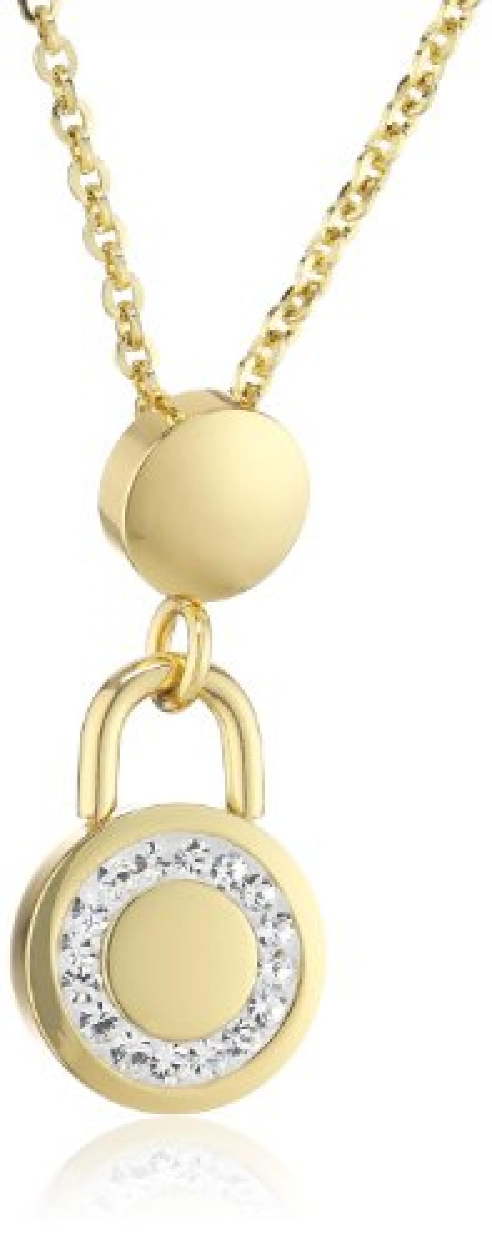 Mike Ellis New York Damen Halskette Edelstahl Zirkonia 42.0 cm gold S254 IPG