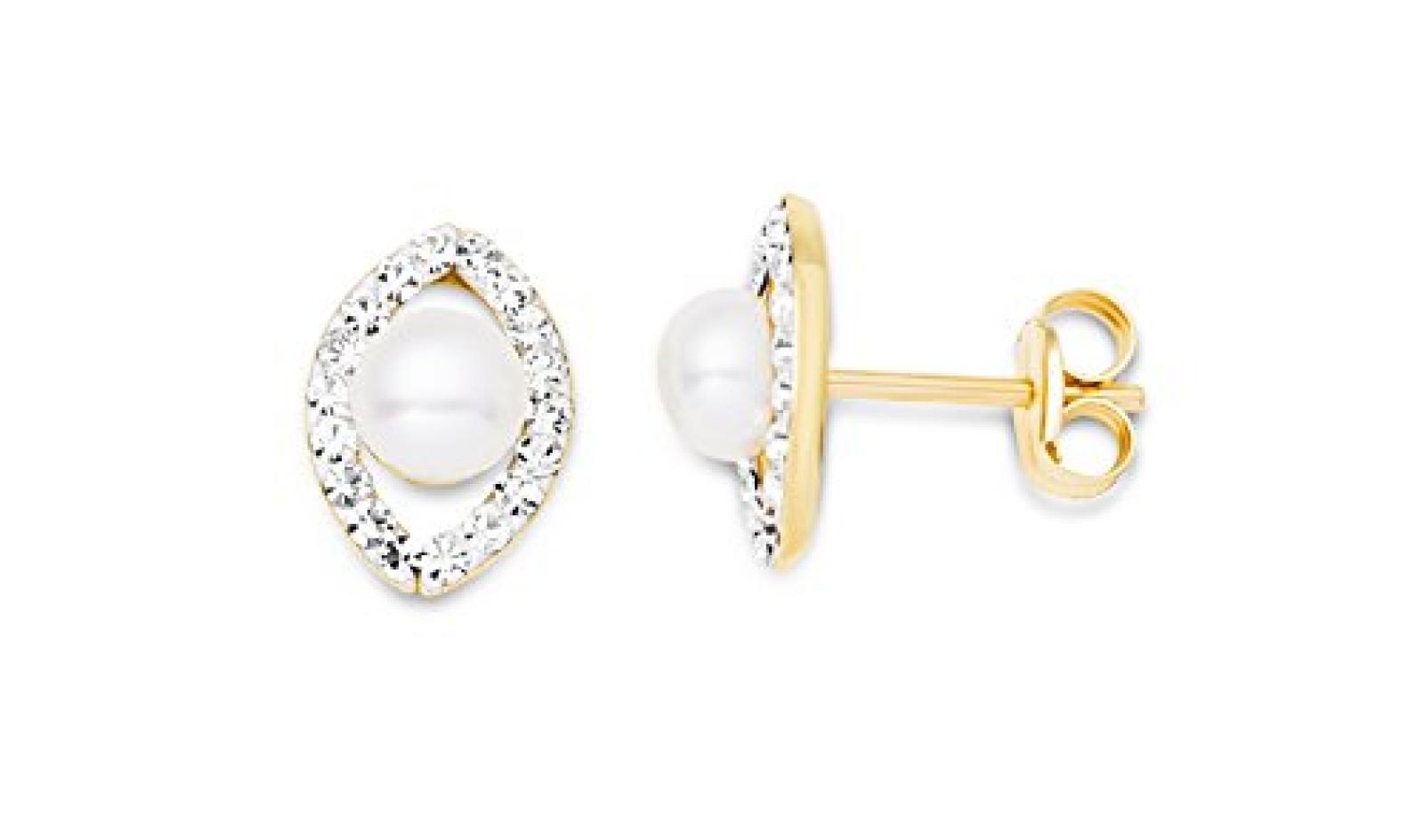 Miore Damen-Ohrstecker 9 Karat (375) Gelbgold Perlen und Swarovski Element MA9073E