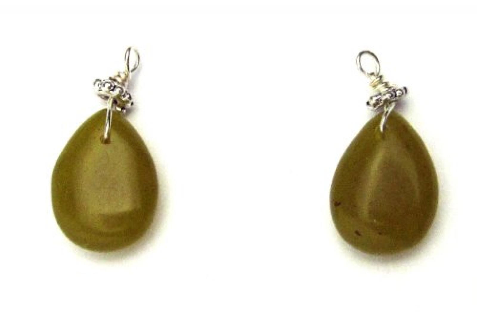 PILGRIM 511-028 Ohrring-Charms Anhänger, versilbert, grün