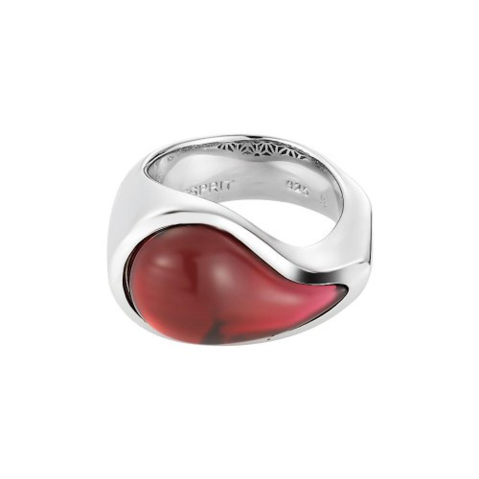 Esprit Damen-Ring drip drop 1 Glasperle pink Edelstahl S.ESRG11567C