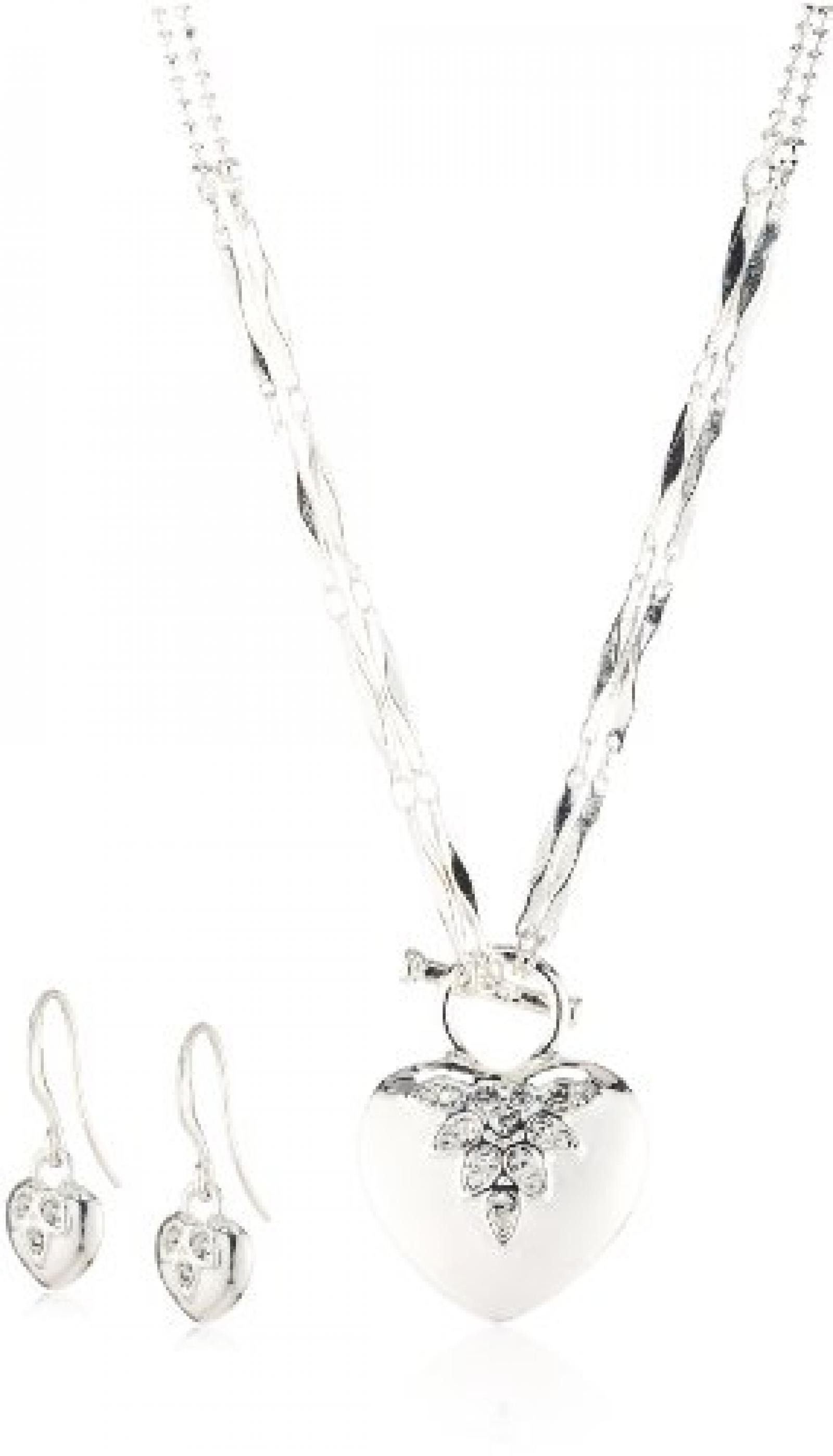 Pilgrim Damen-Set: Halskette + Ohrhänger versilbert Kristall weiß 901346019